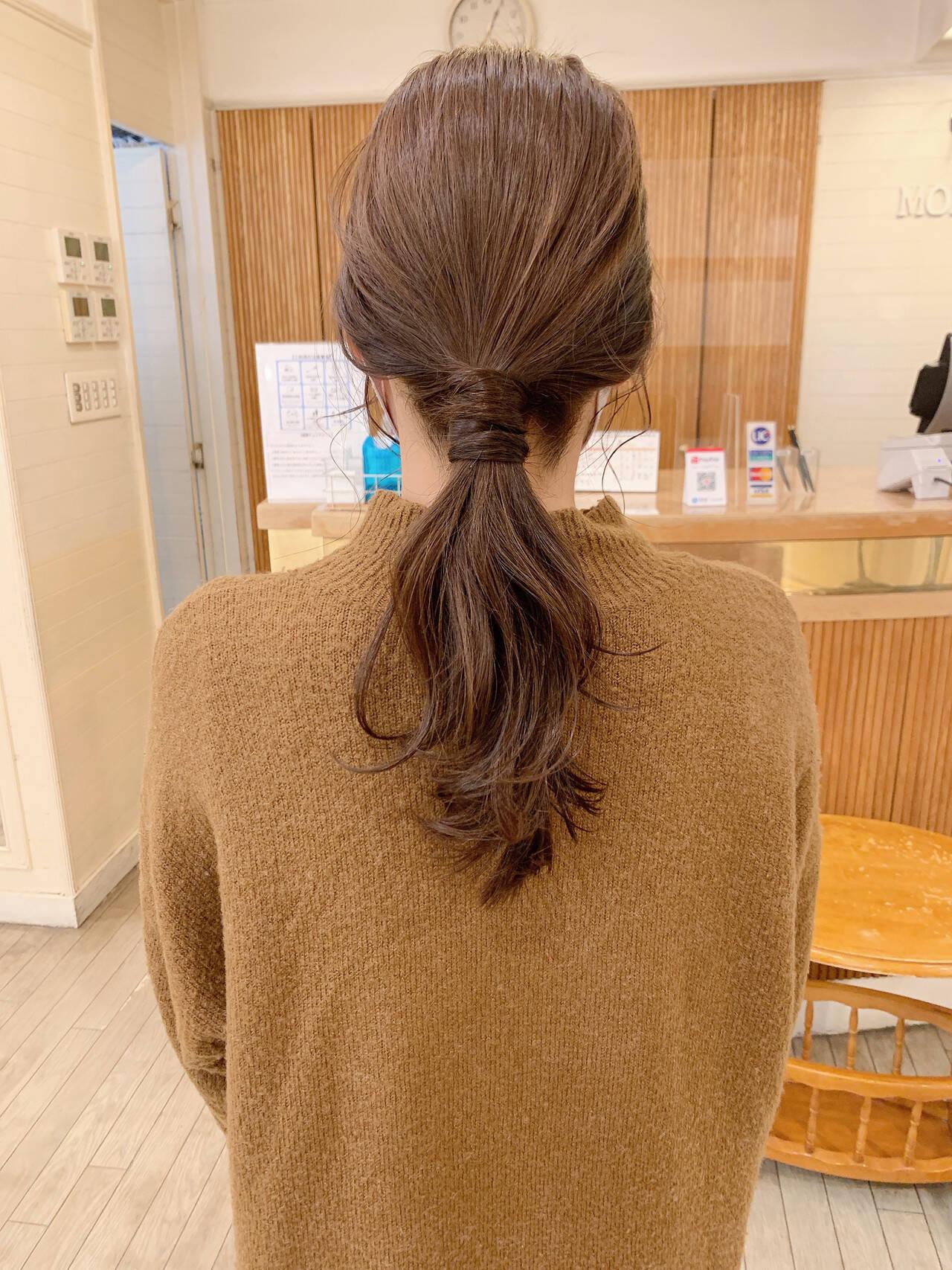 ブラウンベージュ ナチュラル セミロング 簡単ヘアアレンジヘアスタイルや髪型の写真・画像