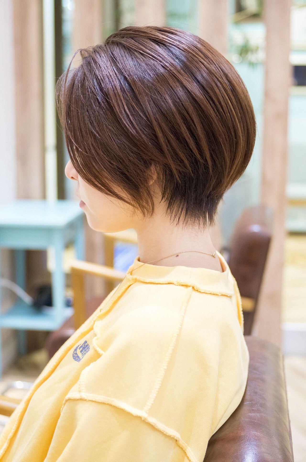 小顔ショート ナチュラル 大人かわいい ショートヘアヘアスタイルや髪型の写真・画像