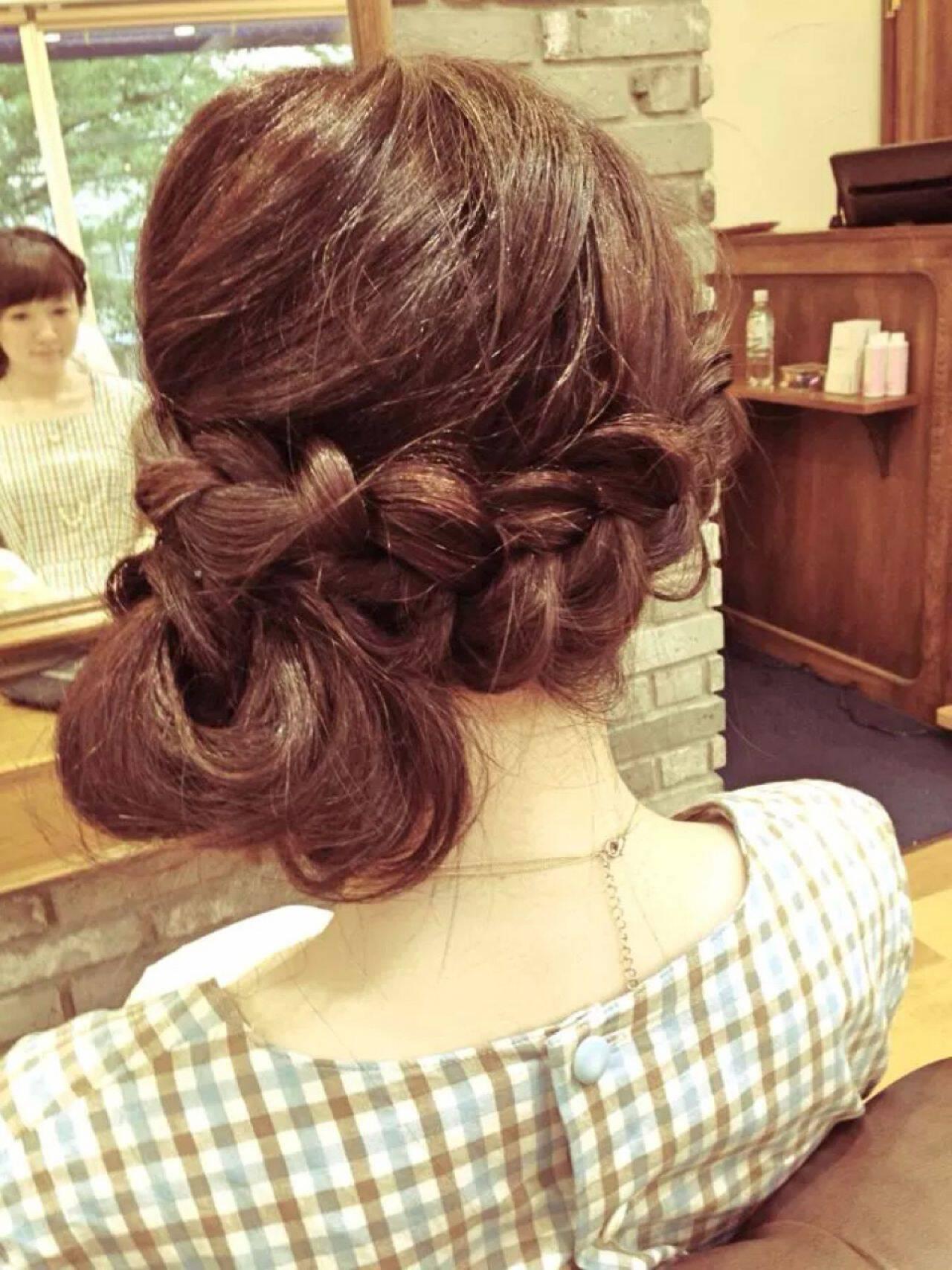 愛され 大人かわいい ナチュラル 編み込みヘアスタイルや髪型の写真・画像