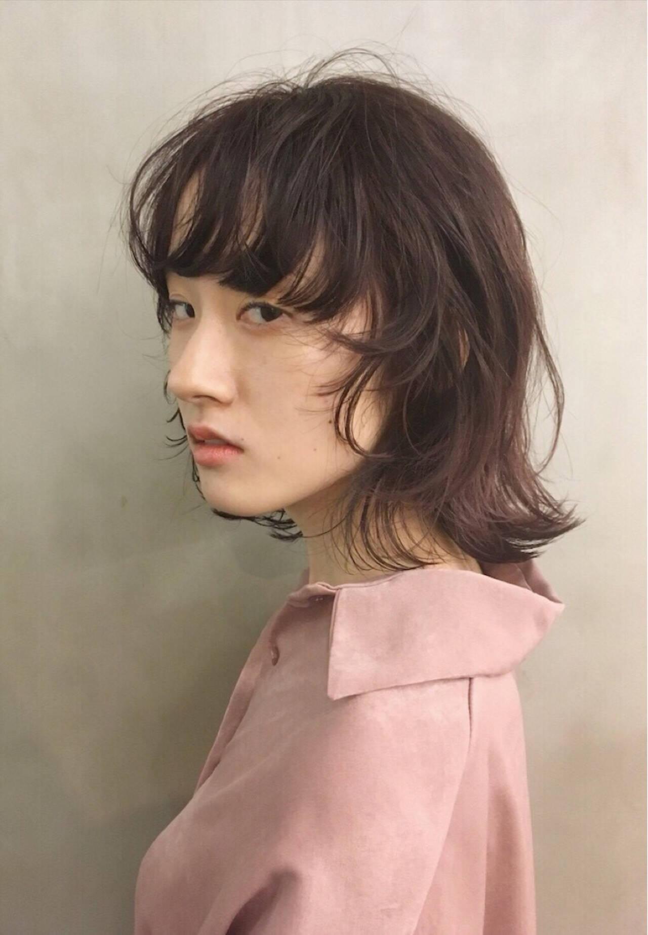 透明感 モード マッシュ ウルフカットヘアスタイルや髪型の写真・画像