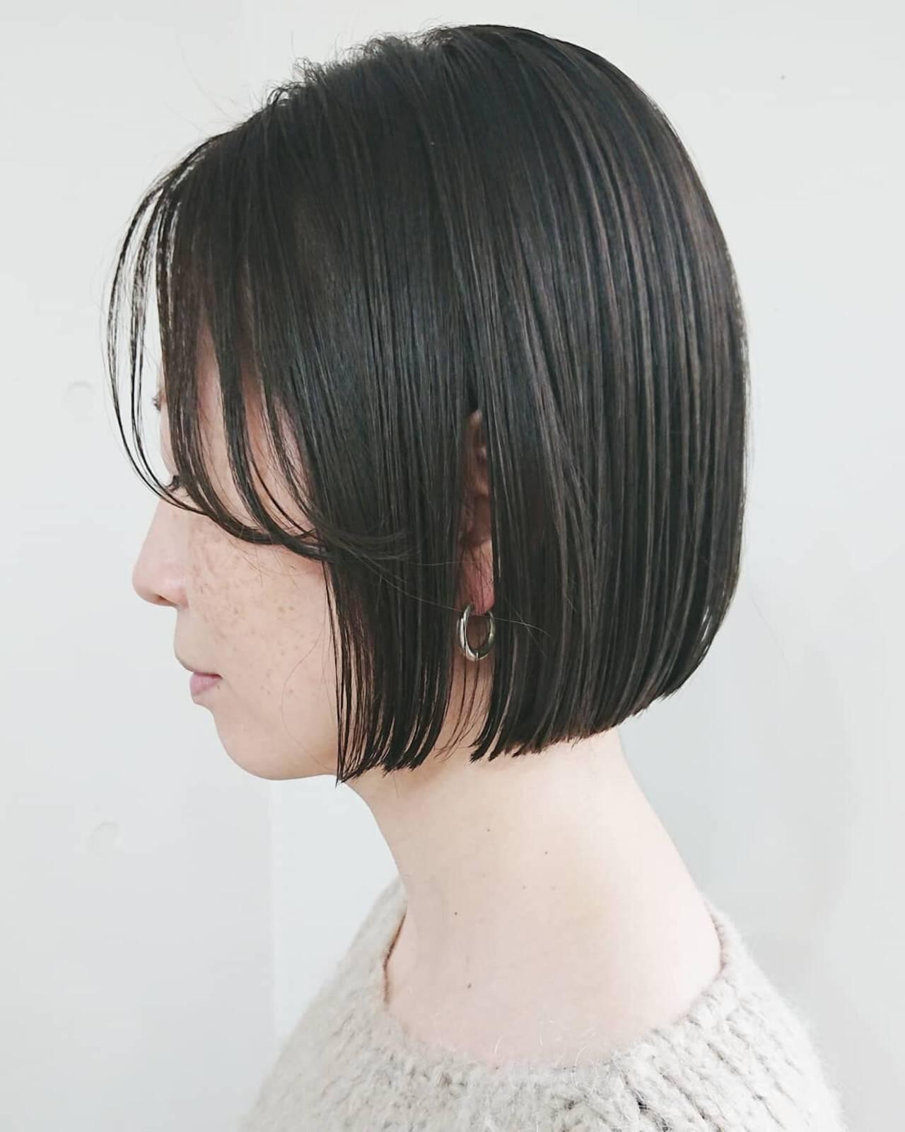 前髪 切りっぱなしボブ ストレート ミニボブヘアスタイルや髪型の写真・画像