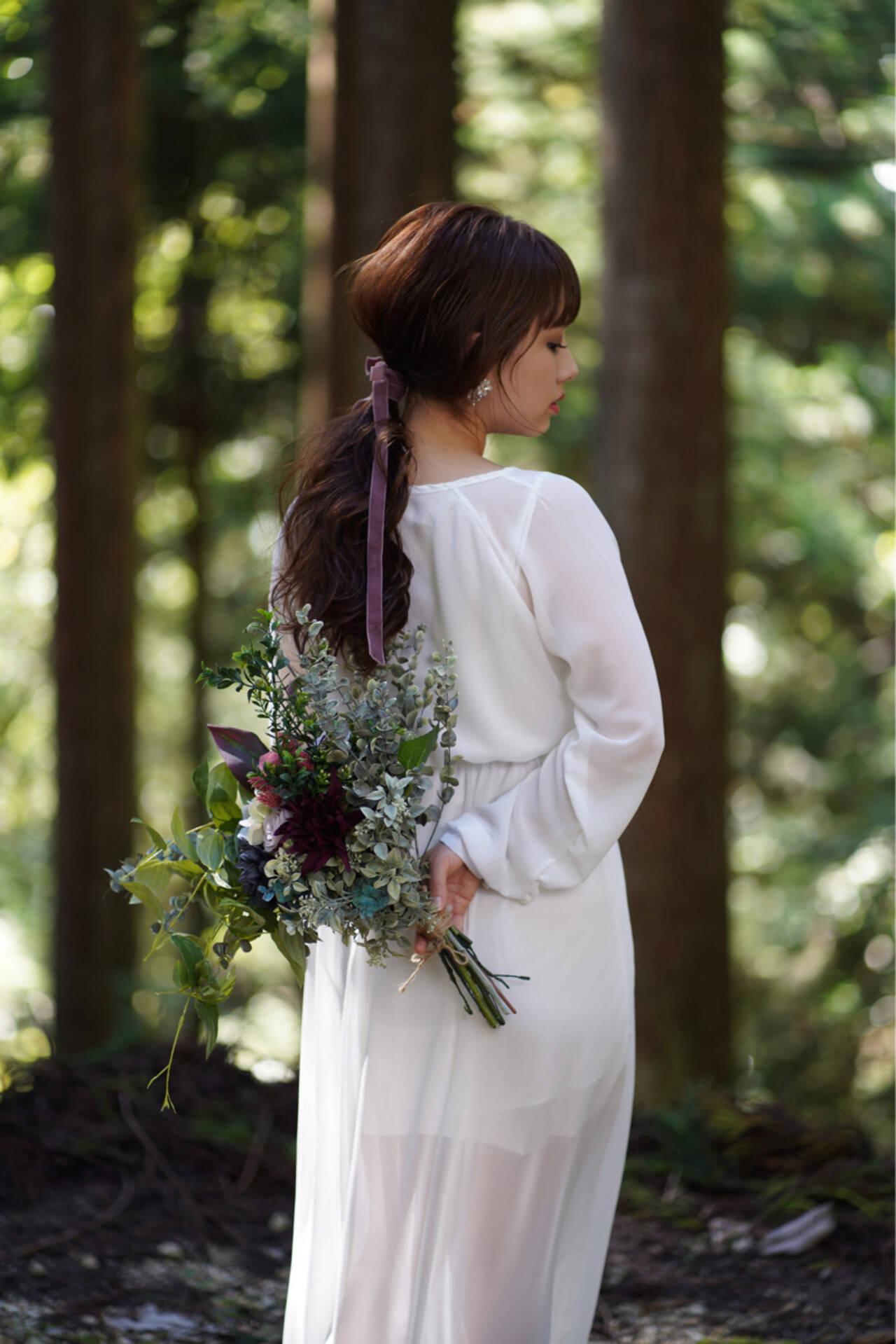 ロング ブライダル フェミニン ヘアアレンジヘアスタイルや髪型の写真・画像