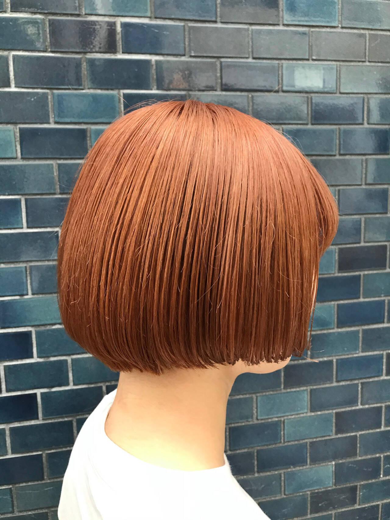 ブリーチ ミニボブ 切りっぱなしボブ ショートヘアヘアスタイルや髪型の写真・画像