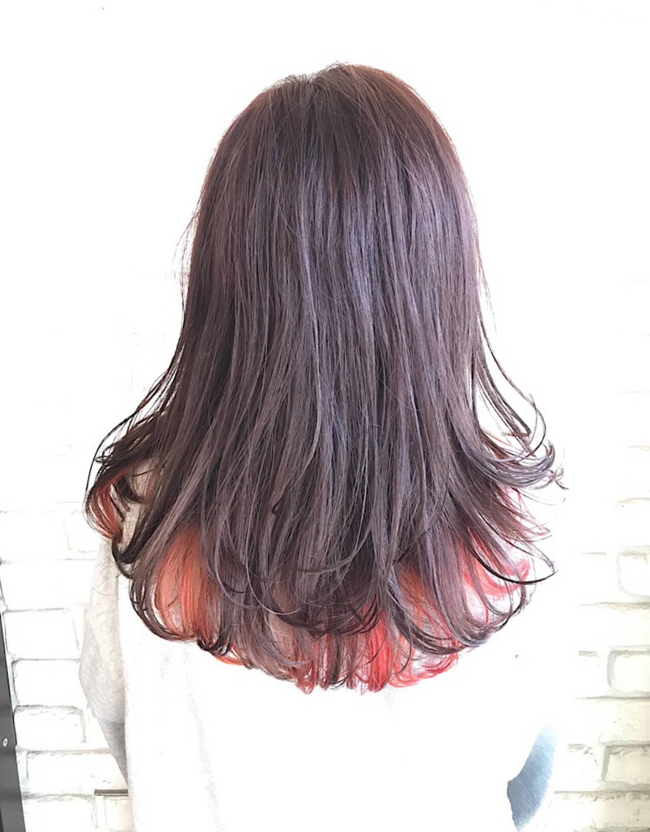 カラフルカラー ロング モード グラデーションカラーヘアスタイルや髪型の写真・画像