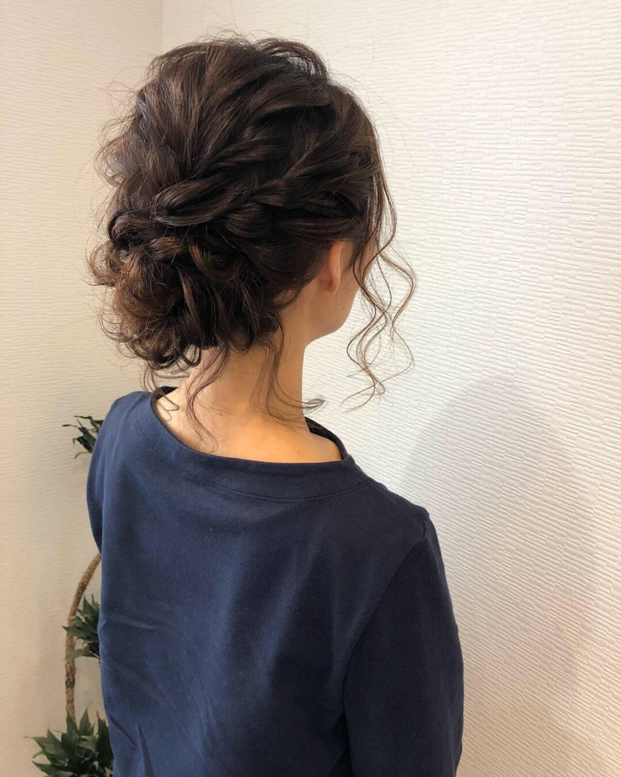 フェミニン アップスタイル ヘアアレンジ ミディアムヘアスタイルや髪型の写真・画像