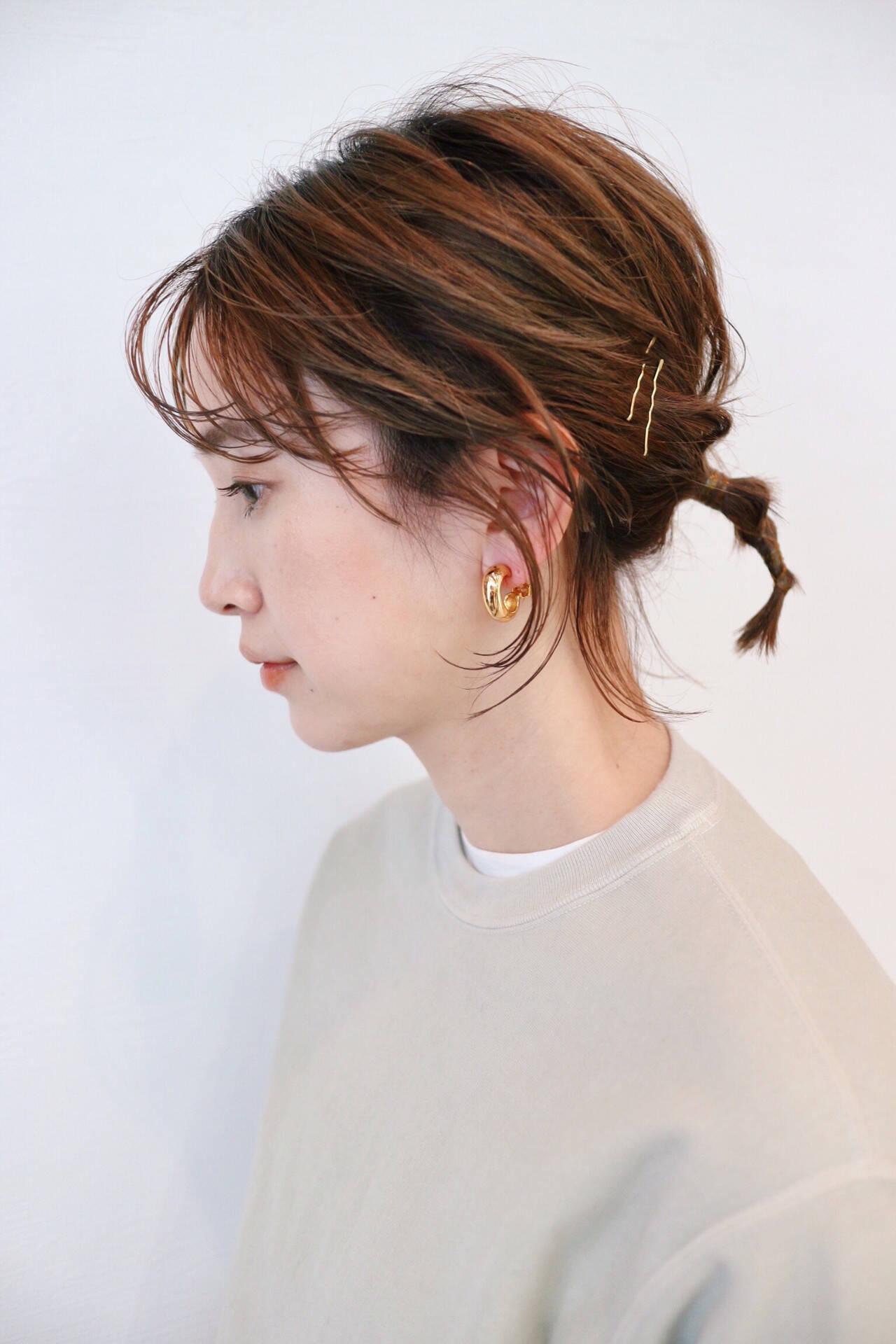 ガーリー ヘアアレンジ グラデーションカラー セルフヘアアレンジヘアスタイルや髪型の写真・画像