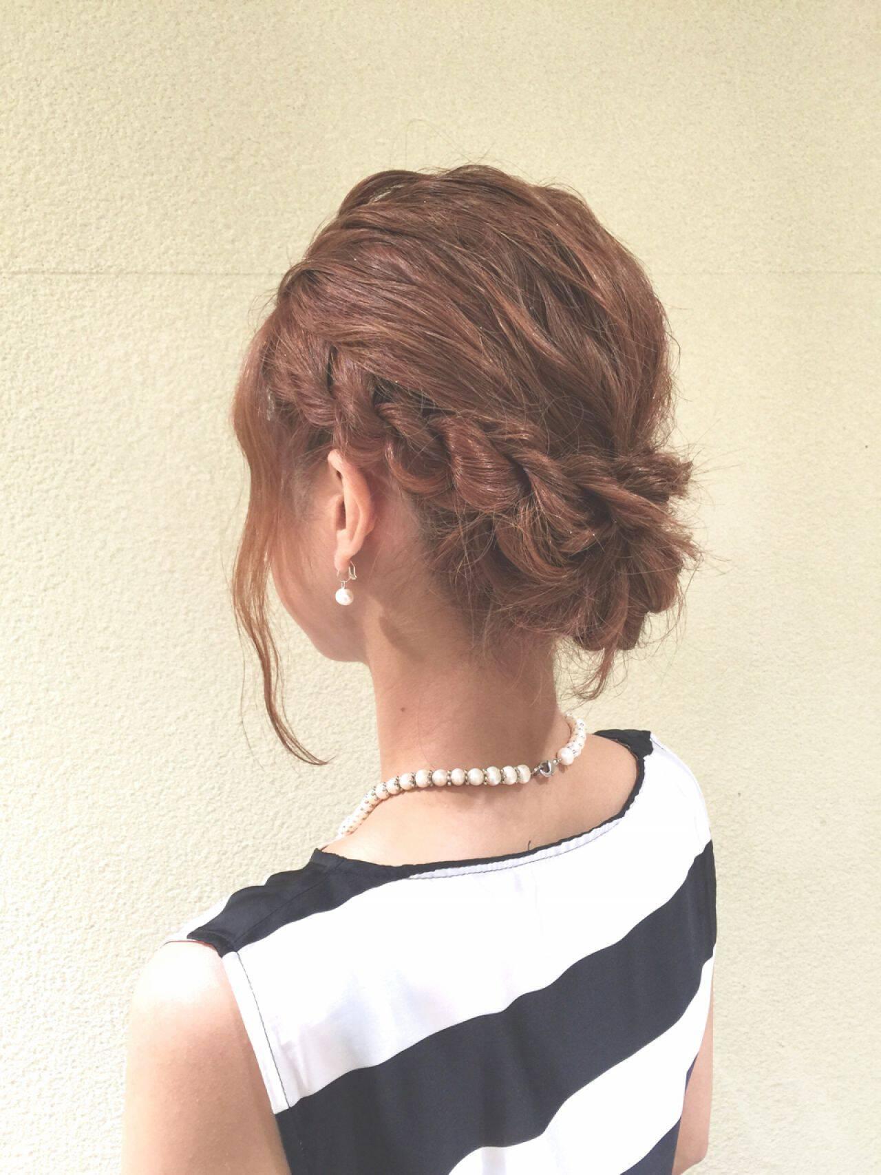 ヘアアレンジ ミディアム 結婚式 パーティヘアスタイルや髪型の写真・画像