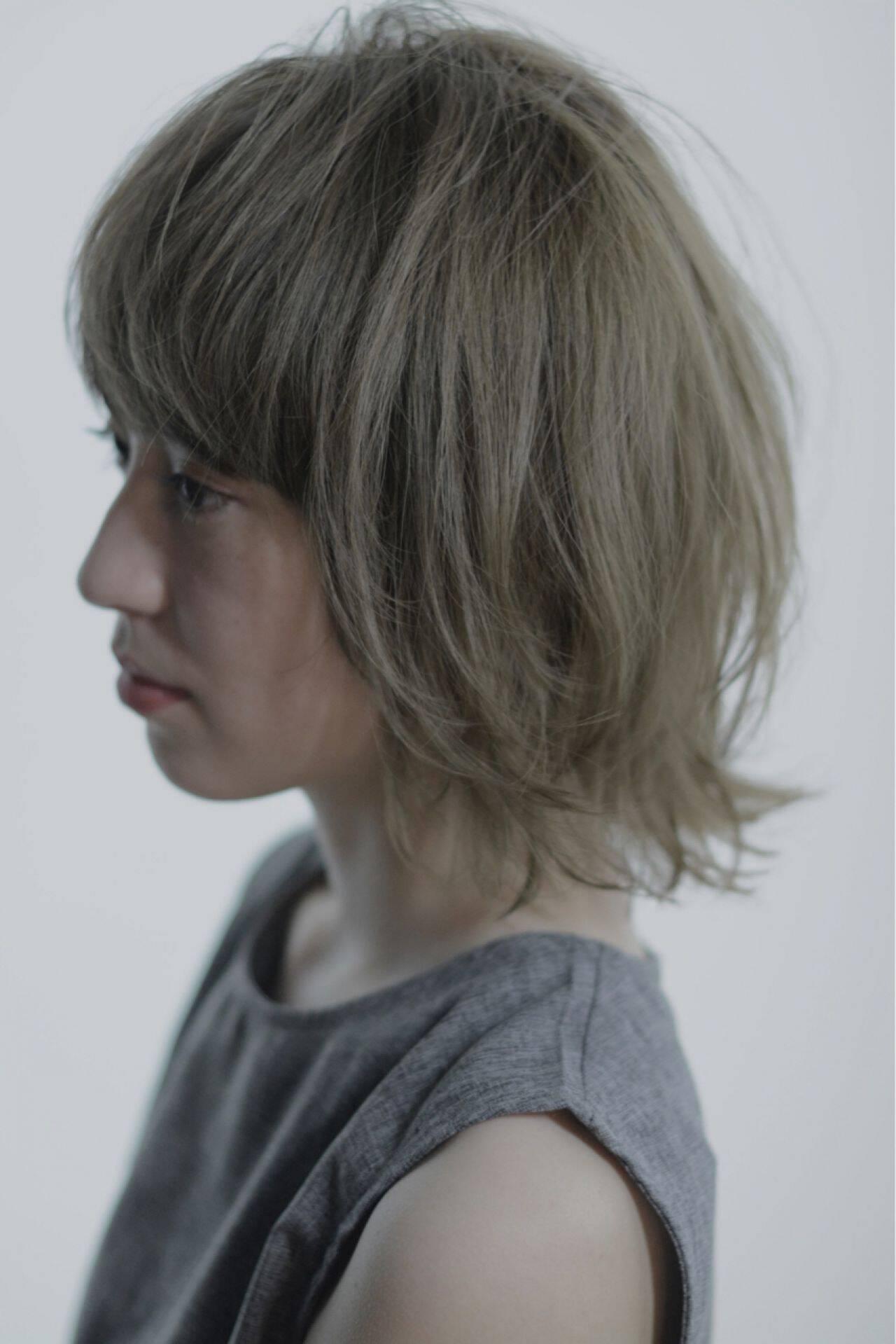 モード ボブ 抜け感 ウルフカットヘアスタイルや髪型の写真・画像