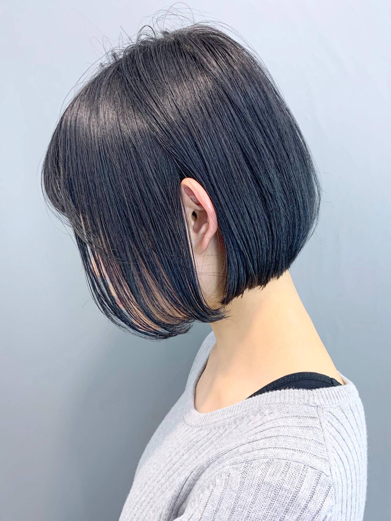 ショートヘア ミニボブ ボブ ナチュラルヘアスタイルや髪型の写真・画像