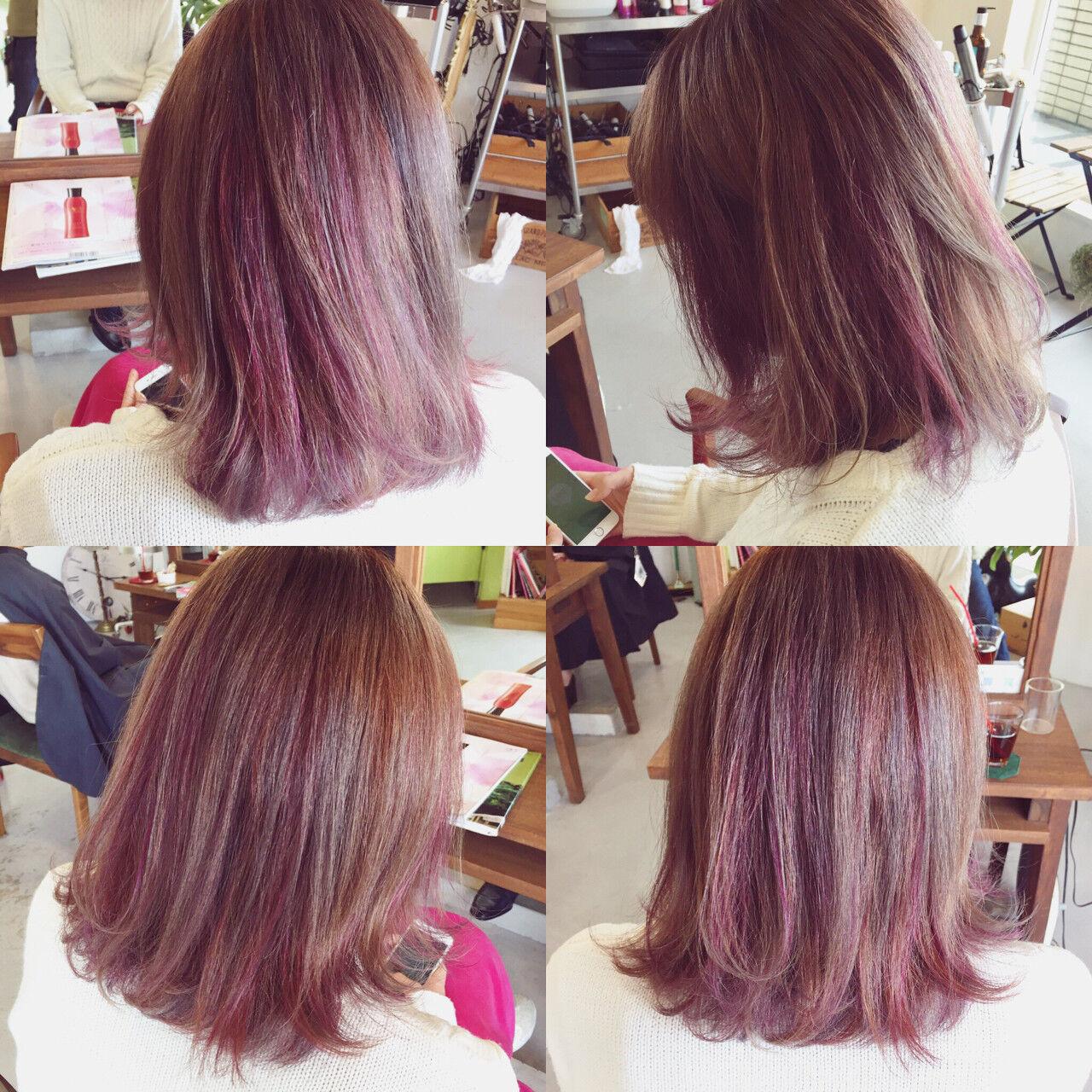 ストリート ボブ ピンク グラデーションカラーヘアスタイルや髪型の写真・画像