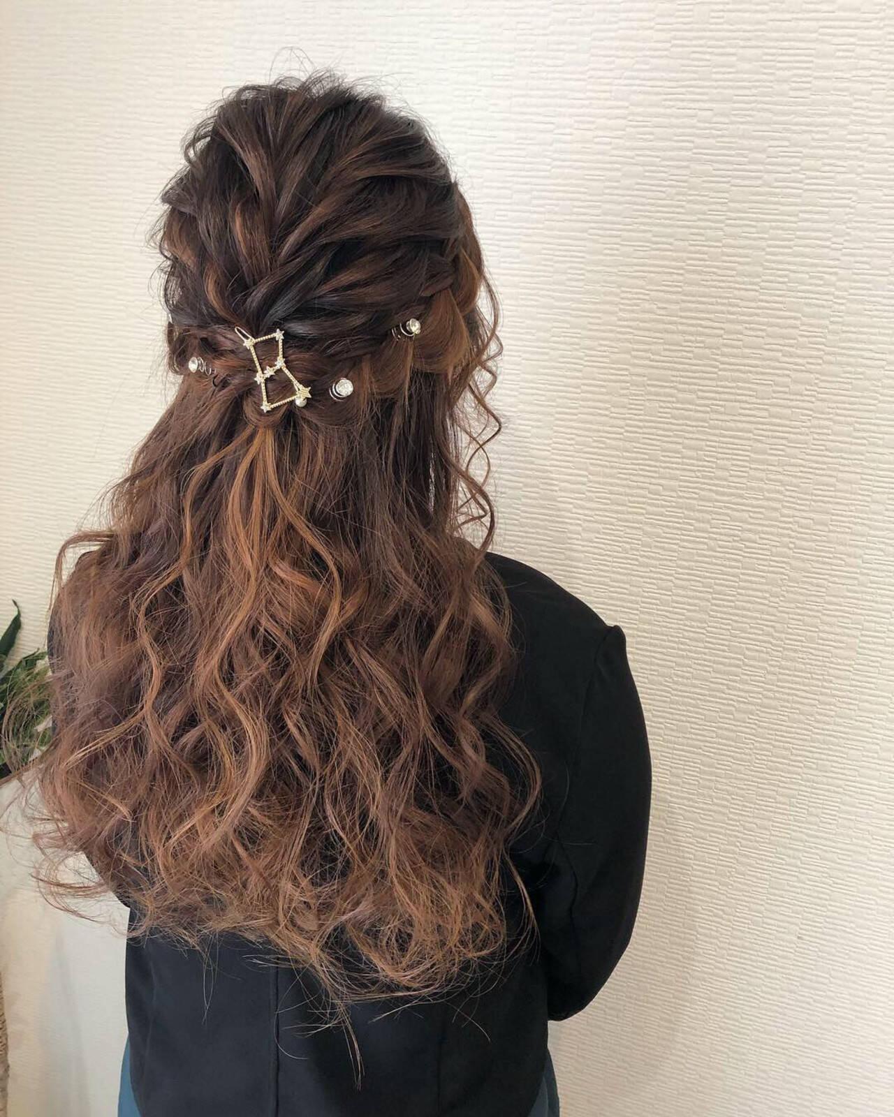 結婚式ヘアアレンジ ヘアアレンジ ヘアセット ハーフアップヘアスタイルや髪型の写真・画像