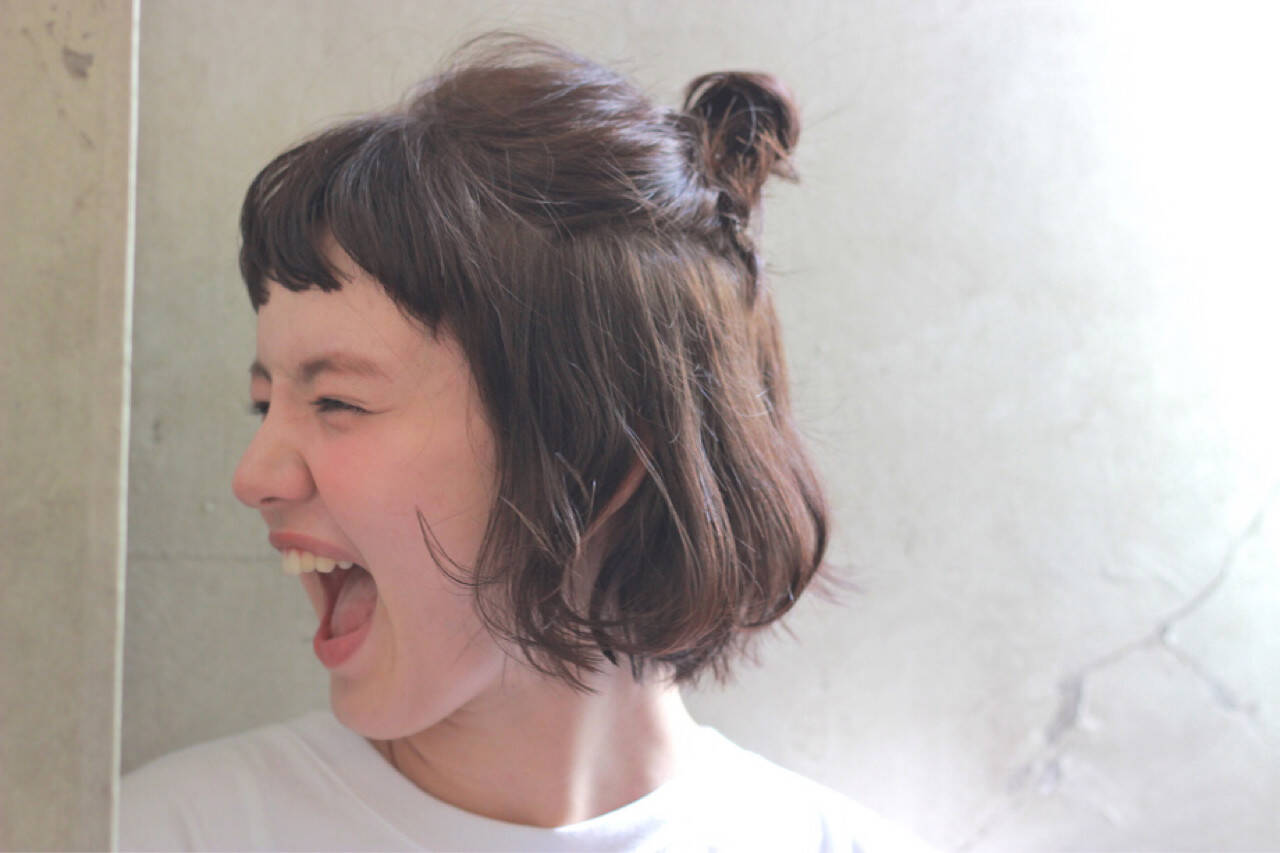 ヘアアレンジ 簡単ヘアアレンジ 前髪あり ボブヘアスタイルや髪型の写真・画像
