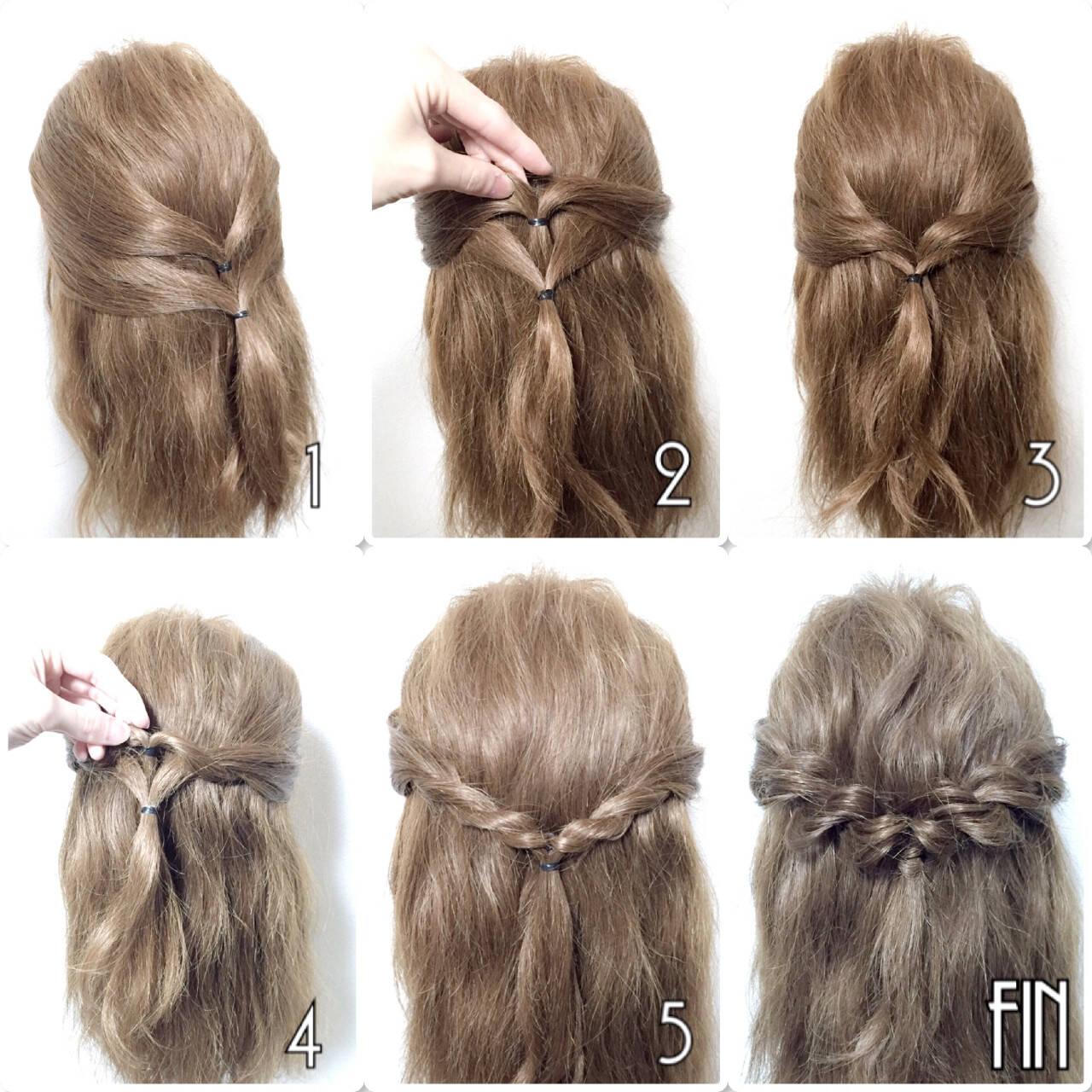 セミロング ショート 簡単ヘアアレンジ ロープ編みヘアスタイルや髪型の写真・画像