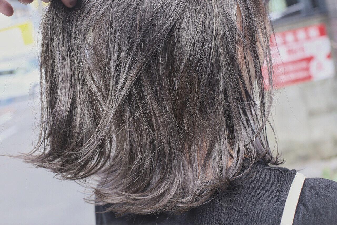 ブリーチ ダブルカラー ボブ グラデーションカラーヘアスタイルや髪型の写真・画像