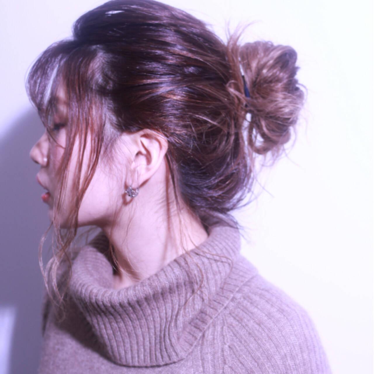 外国人風 シースルーバング ヘアアレンジ ショートヘアスタイルや髪型の写真・画像