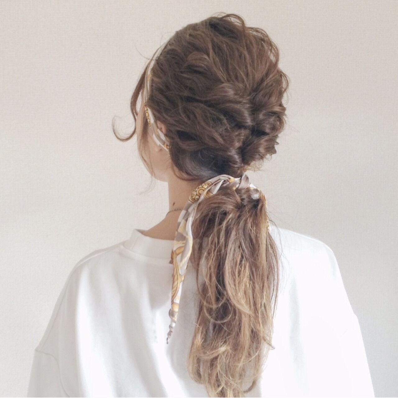 ローポニーテール セルフヘアアレンジ ストリート ヘアアクセヘアスタイルや髪型の写真・画像