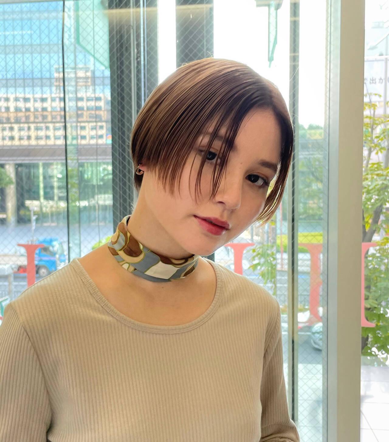 ハンサムショート ナチュラル ショートアレンジ ショートヘアスタイルや髪型の写真・画像