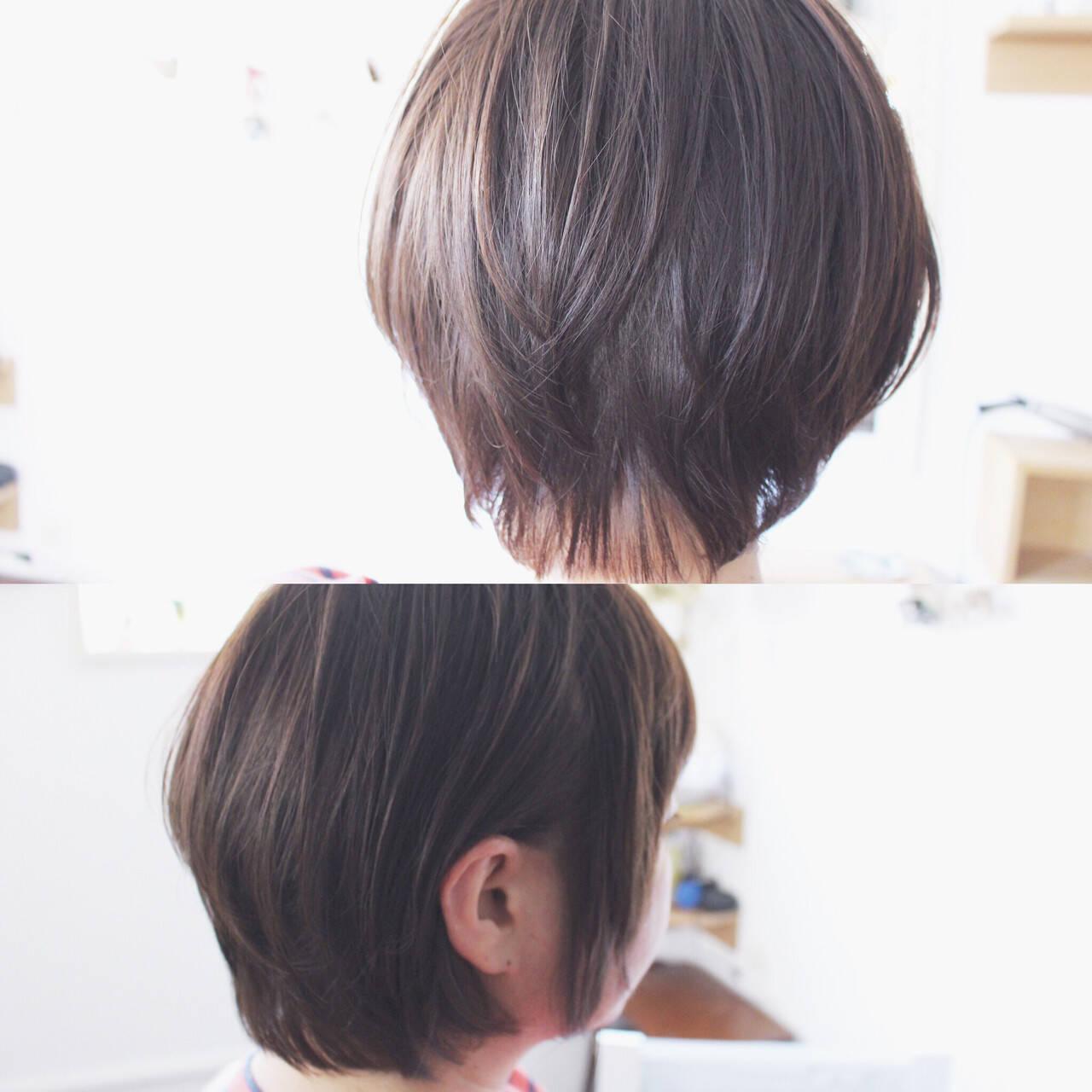 小顔 アッシュ グレージュ ナチュラルヘアスタイルや髪型の写真・画像