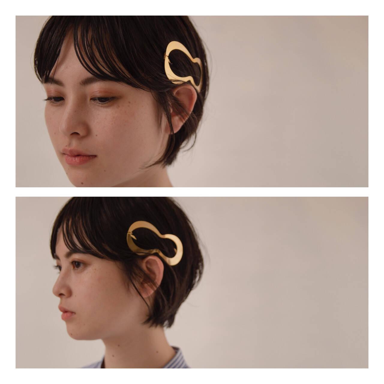小顔ショート ワンカールパーマ ナチュラル ショートボブヘアスタイルや髪型の写真・画像