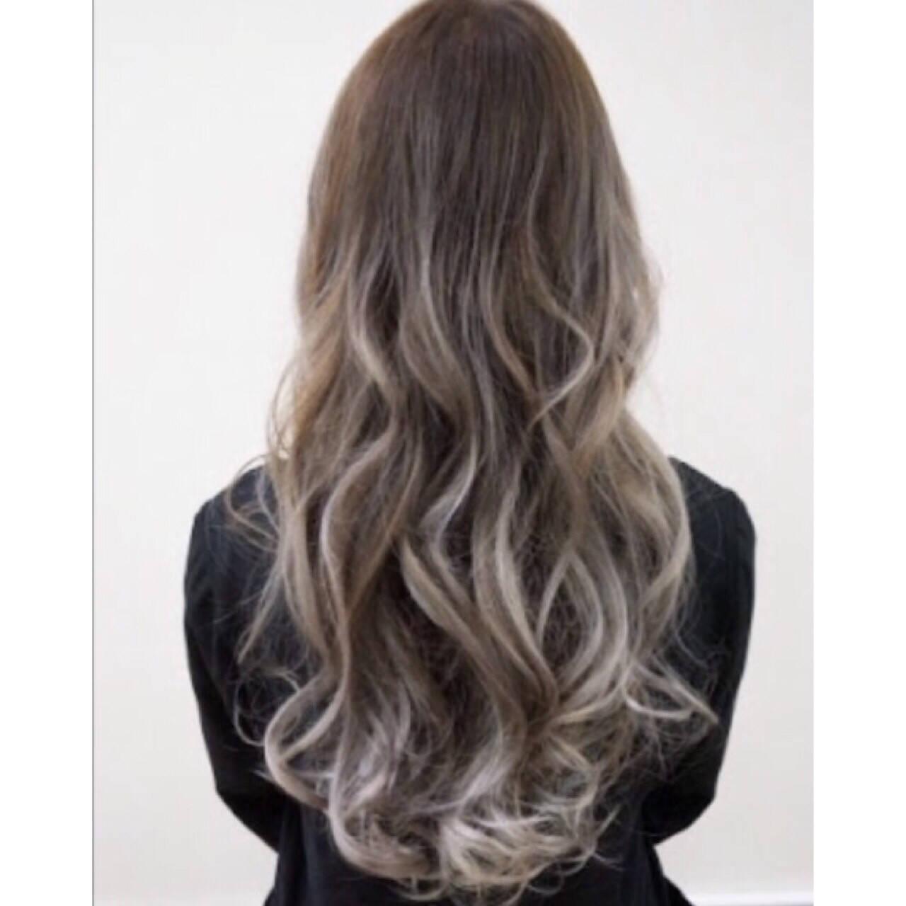 ハイライト ローライト セミロング ストリートヘアスタイルや髪型の写真・画像