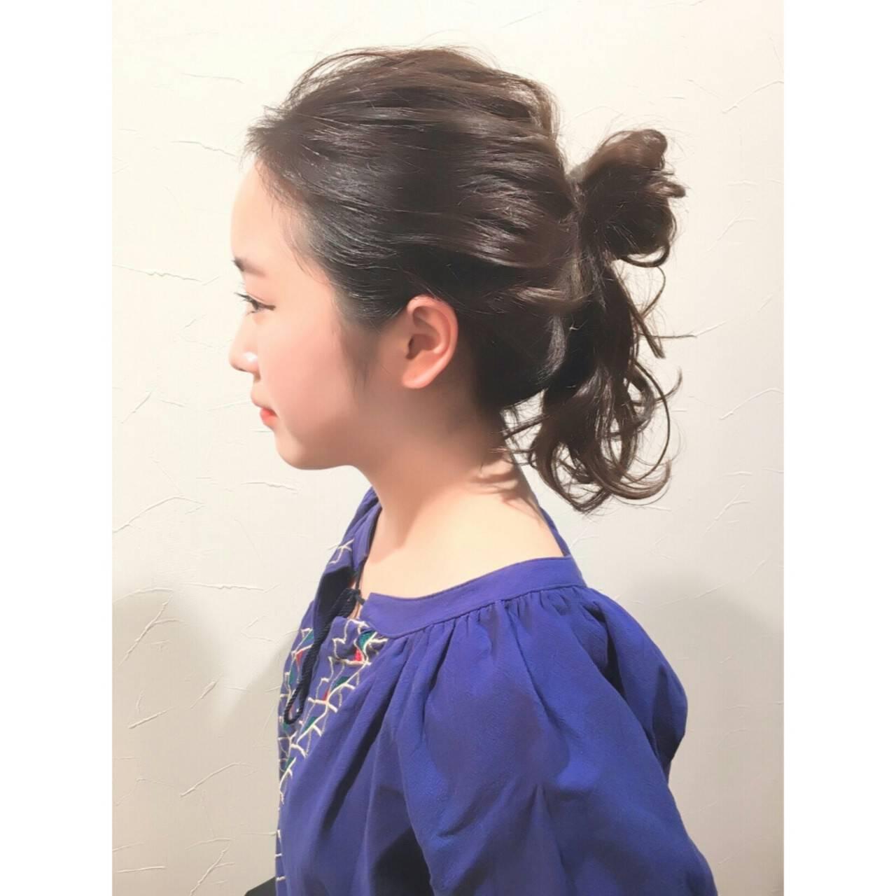 ショート 簡単ヘアアレンジ ロング 暗髪ヘアスタイルや髪型の写真・画像