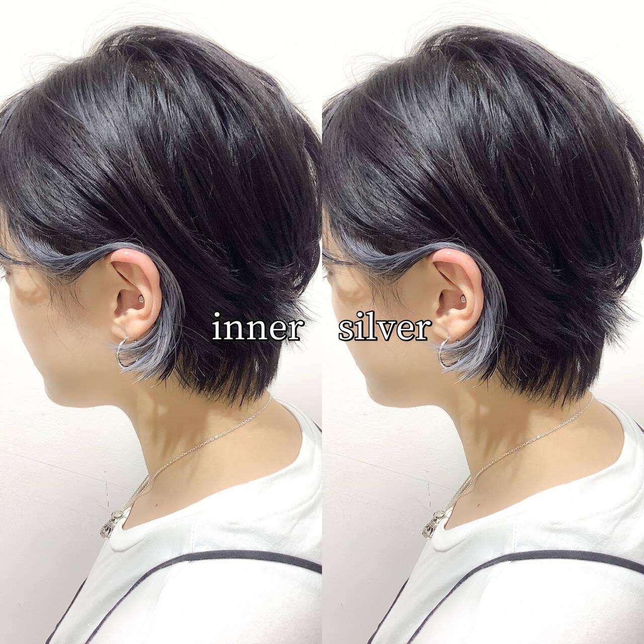 ヘアカラー シルバー シルバーグレー インナーカラーシルバーヘアスタイルや髪型の写真・画像