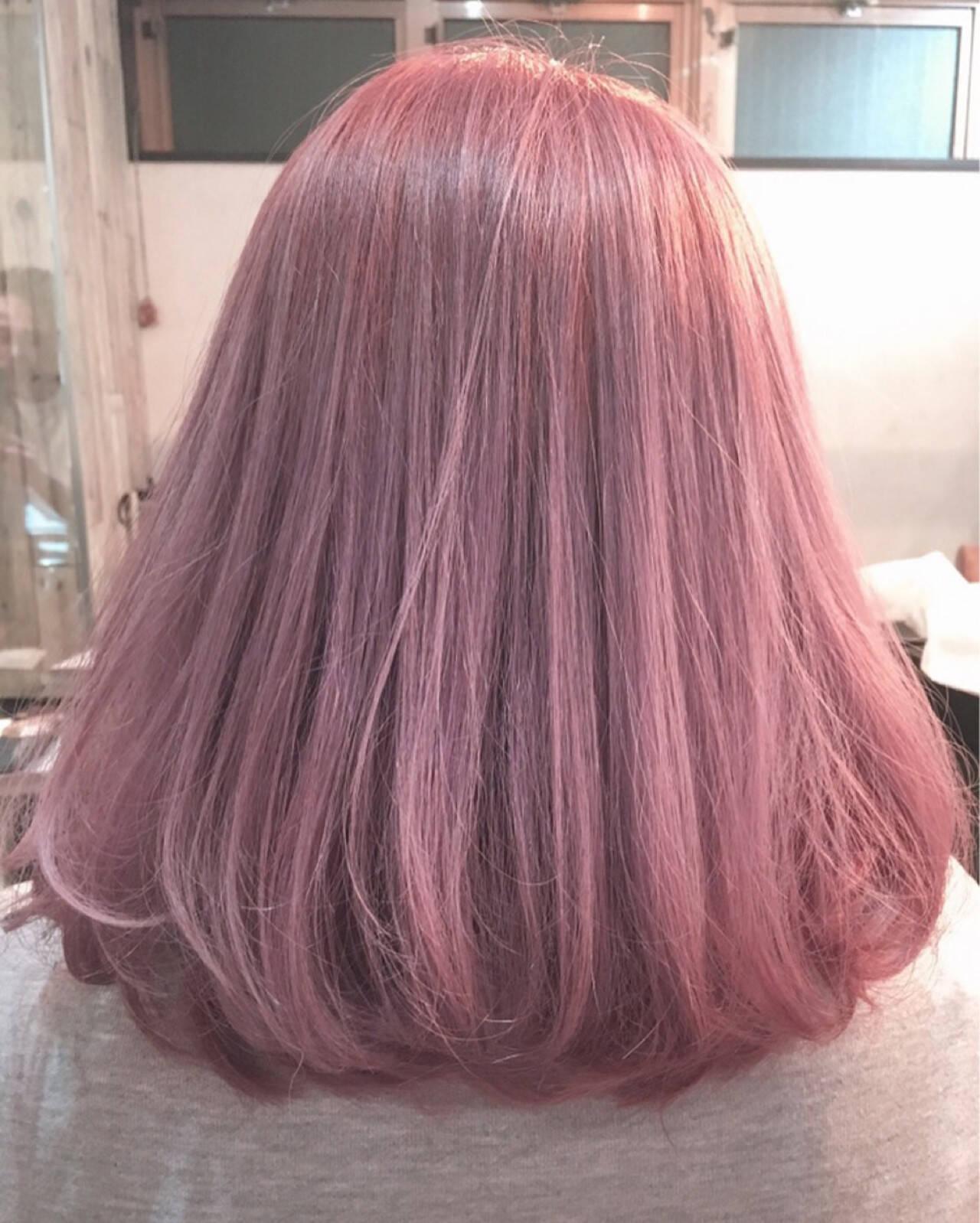 ベージュ ガーリー ボブ ラベンダーアッシュヘアスタイルや髪型の写真・画像