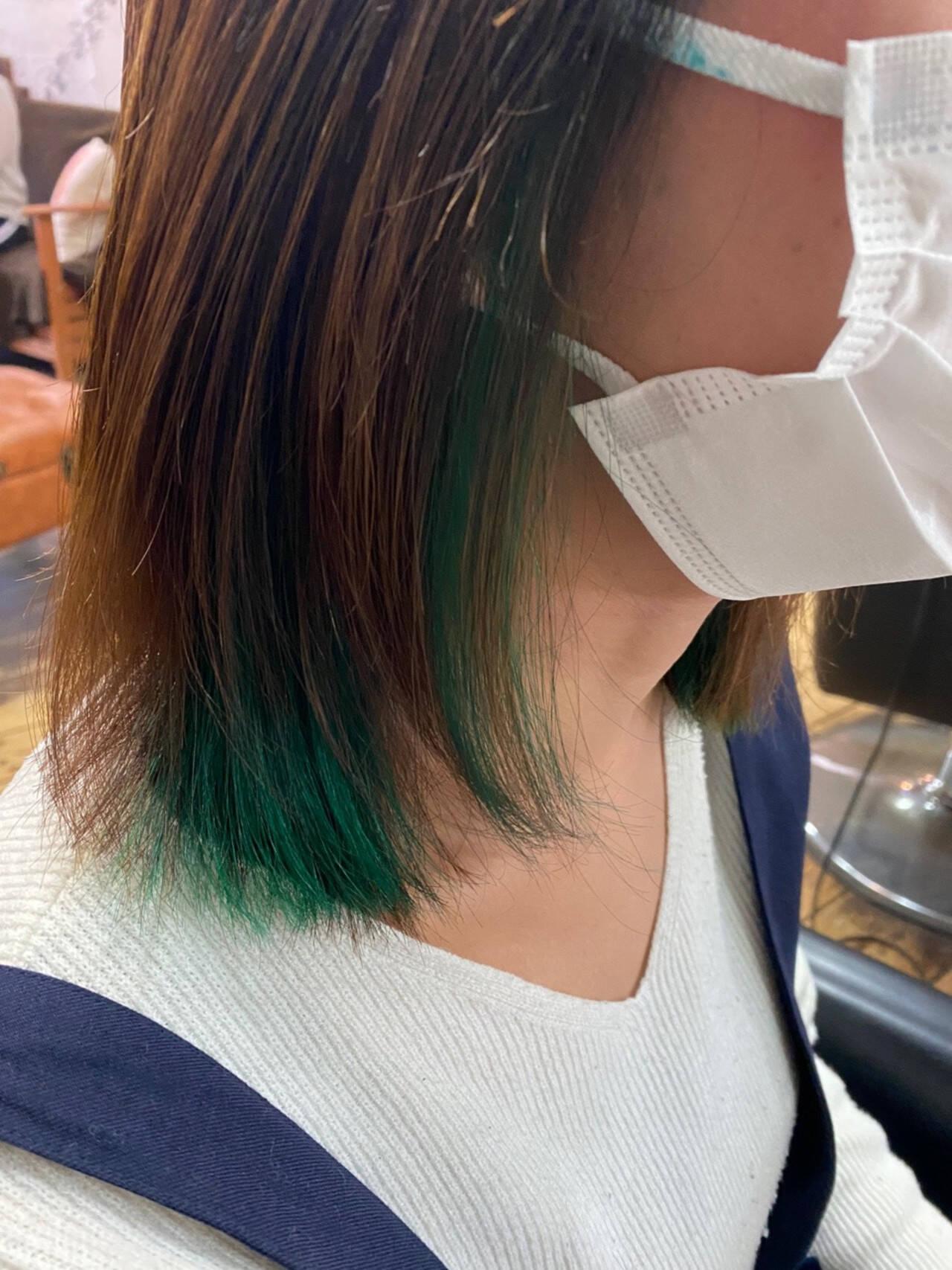 ダブルカラー インナーグリーン グリーン ボブヘアスタイルや髪型の写真・画像