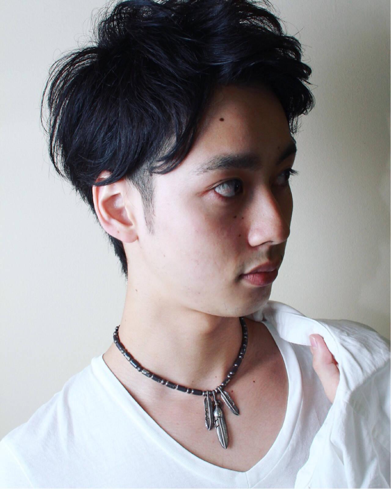 ショート 黒髪 パーマ ボーイッシュヘアスタイルや髪型の写真・画像