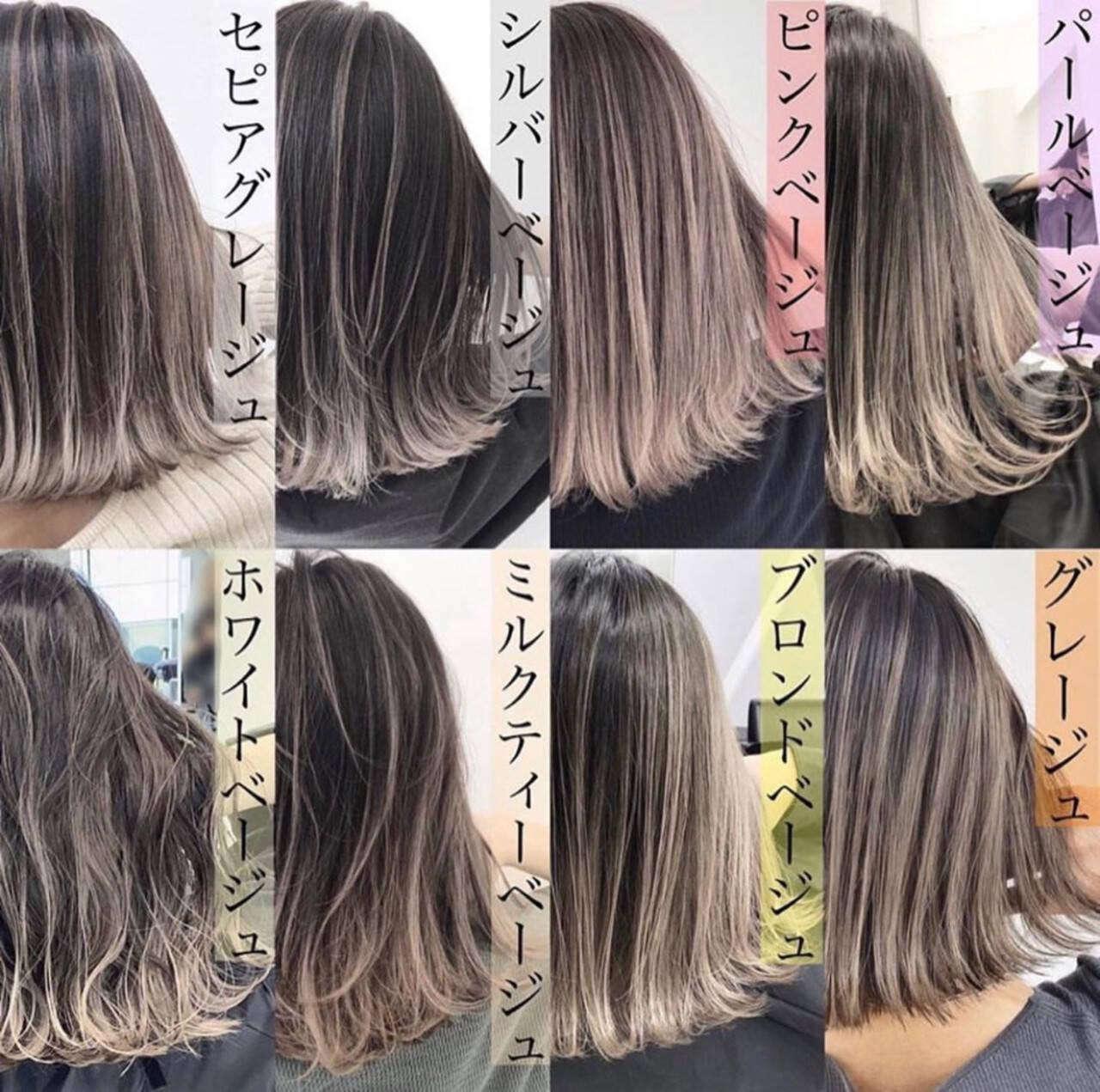 ピンクベージュ ストリート バレイヤージュ ミディアムヘアスタイルや髪型の写真・画像