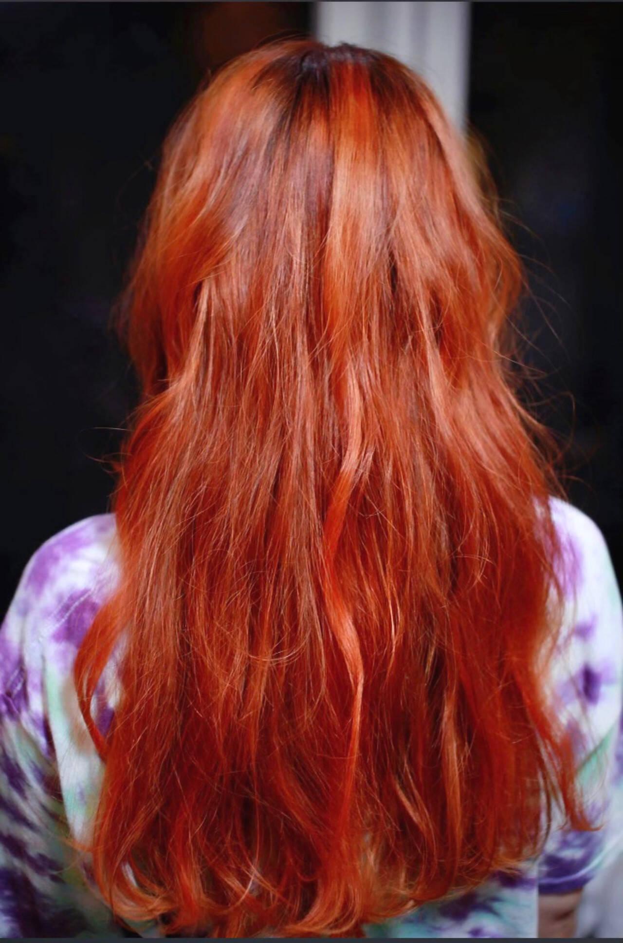 モード ロング ハイライトヘアスタイルや髪型の写真・画像