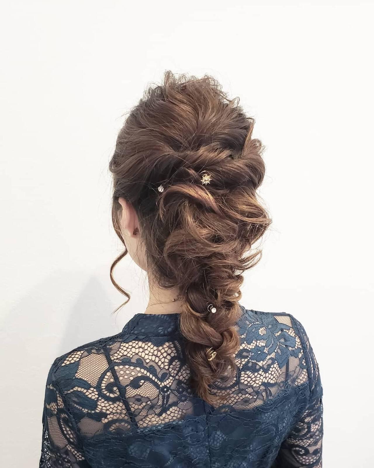 簡単ヘアアレンジ ヘアアレンジ 結婚式ヘアアレンジ セミロングヘアスタイルや髪型の写真・画像
