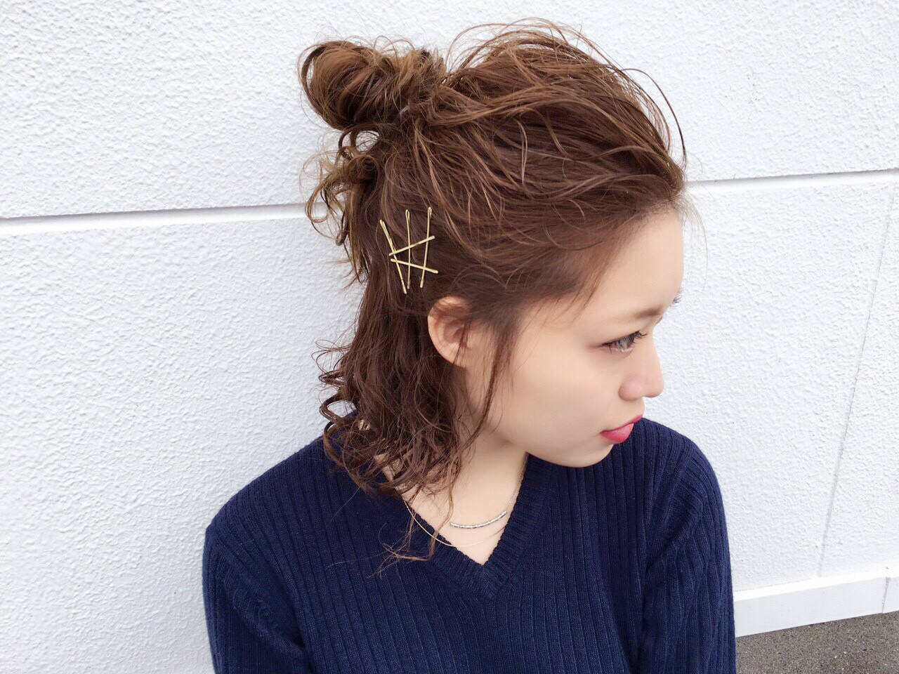 ミディアム ヘアアレンジ ショート アッシュヘアスタイルや髪型の写真・画像