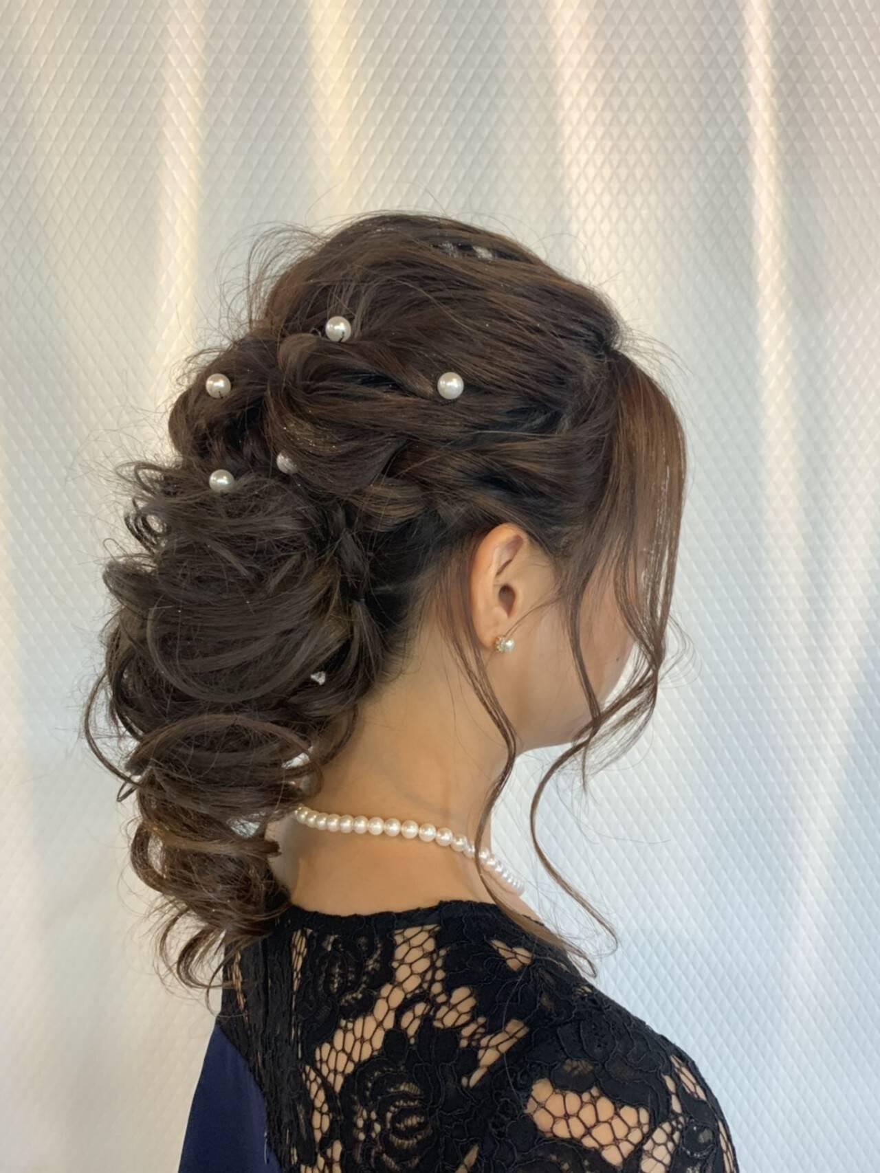 ヘアアレンジ セミロング 結婚式 エレガントヘアスタイルや髪型の写真・画像