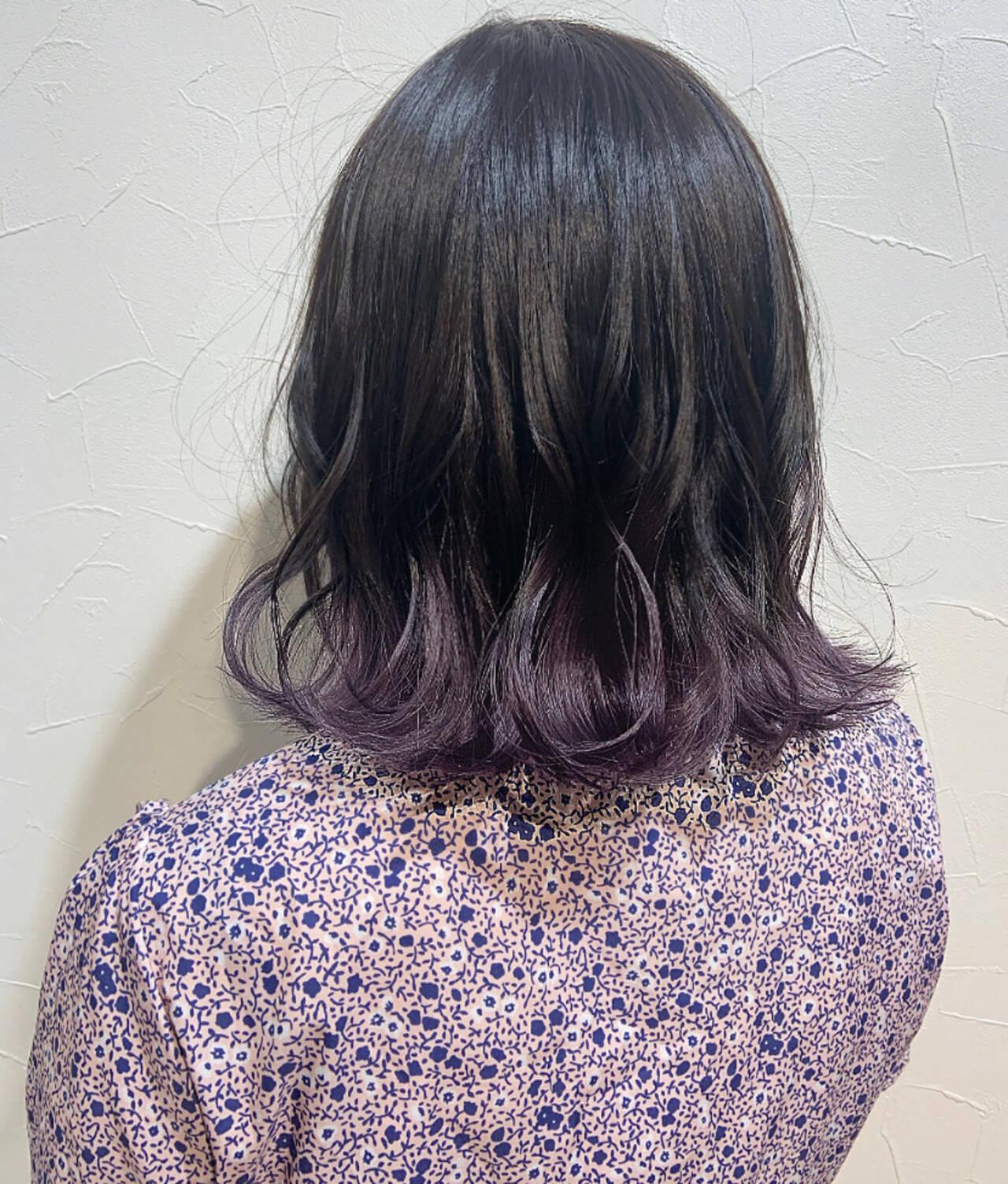 パープルカラー デザインカラー ボブ ガーリーヘアスタイルや髪型の写真・画像