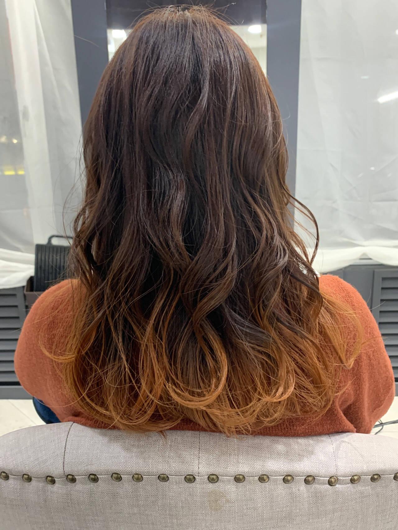 グラデーションカラー ゆるふわ オレンジ フェミニンヘアスタイルや髪型の写真・画像
