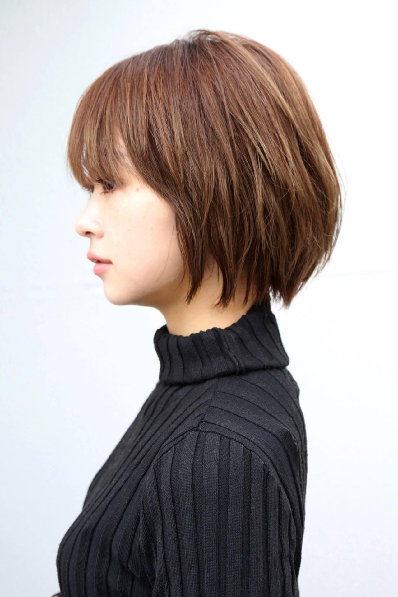 ショートボブ ショートヘア ハンサムショート 小顔ショートヘアスタイルや髪型の写真・画像