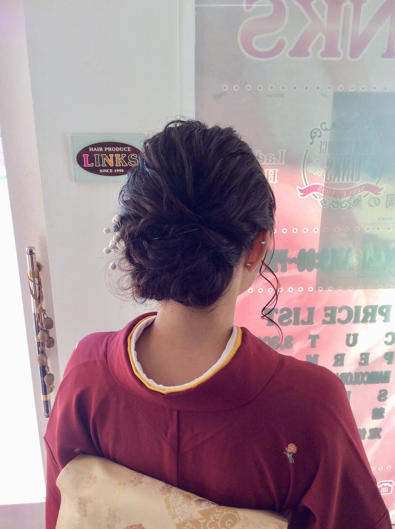 ヘアアレンジ 着物 ミディアム 成人式ヘアメイク着付けヘアスタイルや髪型の写真・画像