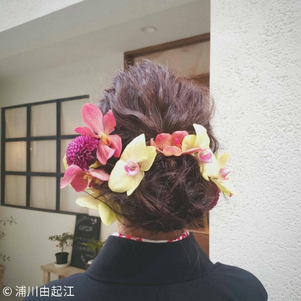 結婚式 ミディアム ヘアアレンジ #春ヘアスタイルや髪型の写真・画像