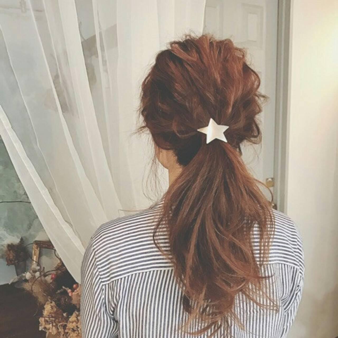 ポニーテール ナチュラル ロング 春ヘアスタイルや髪型の写真・画像
