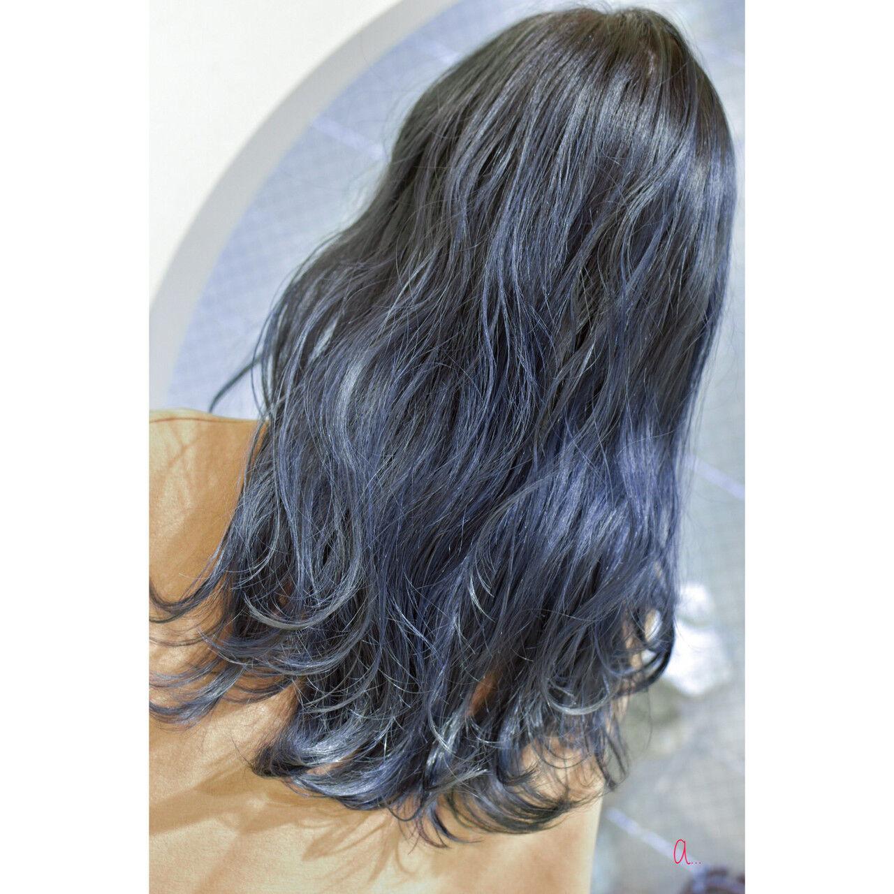 ネイビーカラー モード ネイビーブルー コリアンネイビーヘアスタイルや髪型の写真・画像