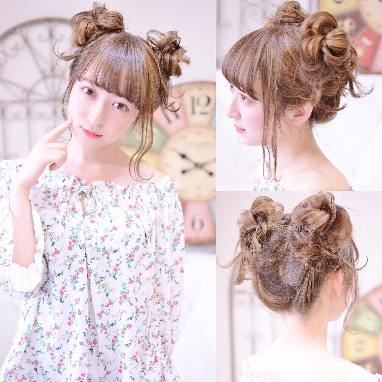 シースルーバング ヘアアレンジ 前髪パッツン デートヘアスタイルや髪型の写真・画像
