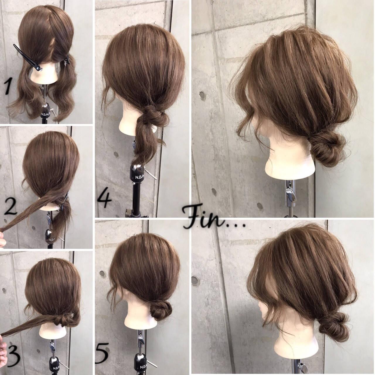 簡単 セミロング ナチュラル ヘアアレンジヘアスタイルや髪型の写真・画像