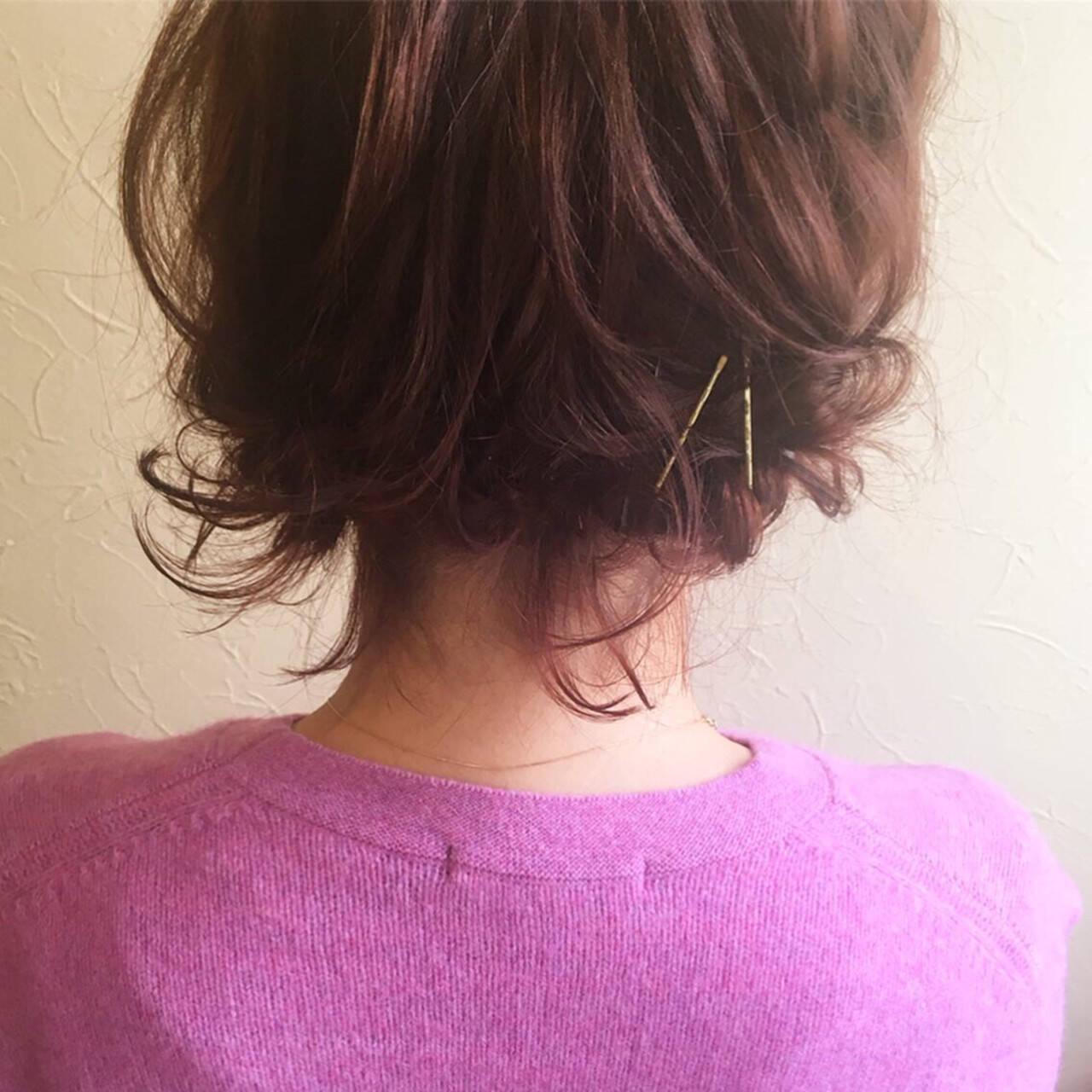 デート ヘアアレンジ スタイリング ボブヘアスタイルや髪型の写真・画像