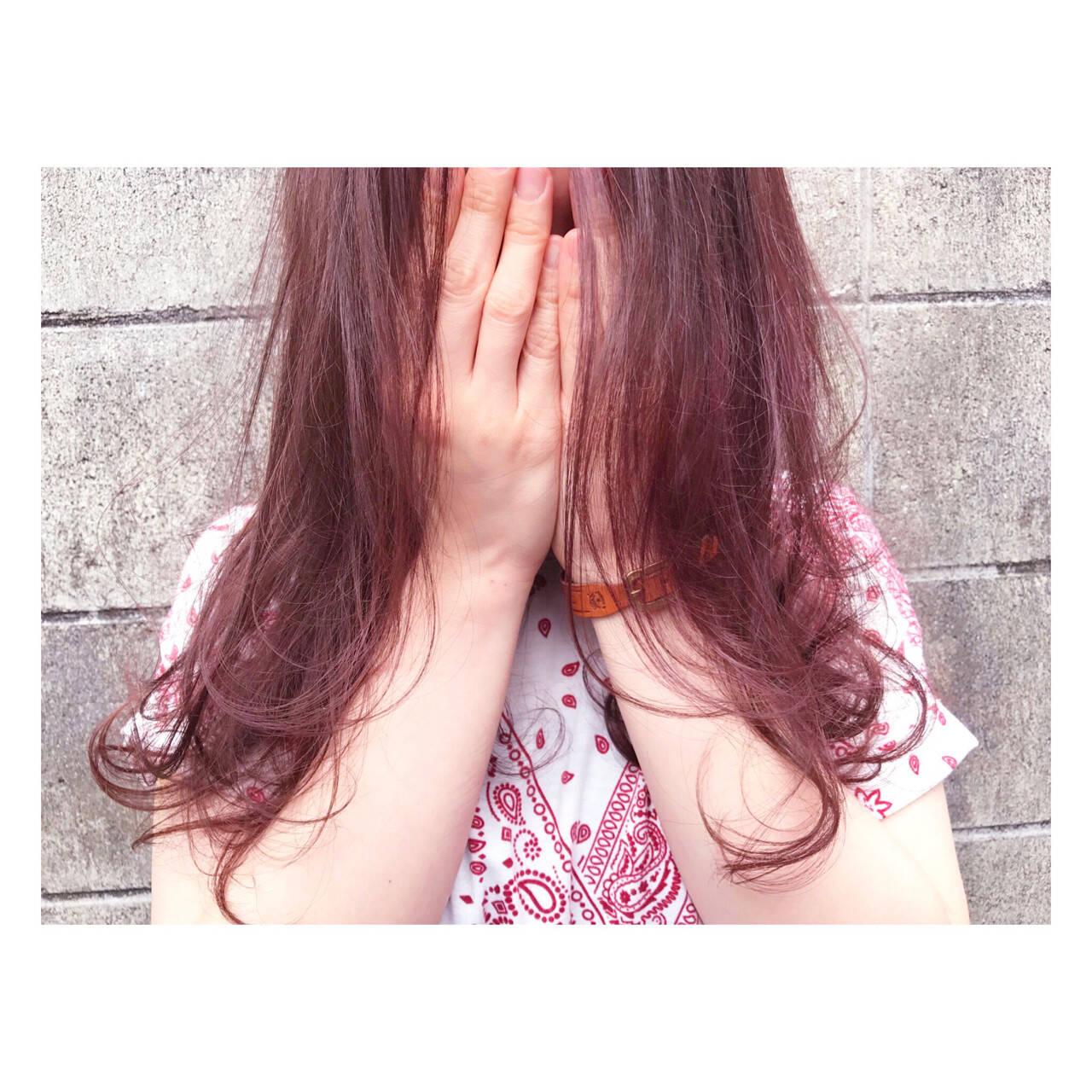 ピンク ラベンダーピンク ストリート 透明感ヘアスタイルや髪型の写真・画像