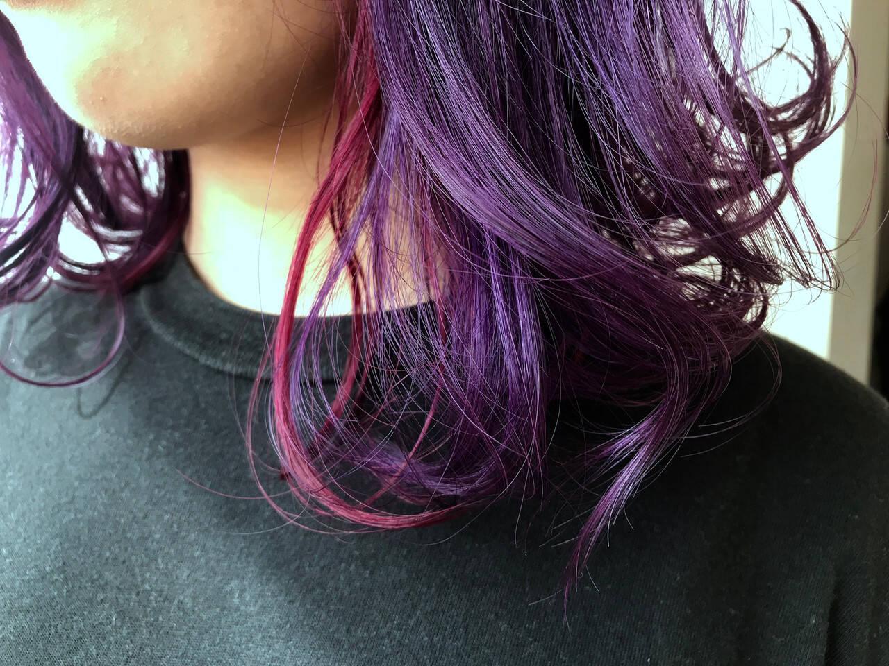 鎖骨ミディアム ストリート ハイトーン 簡単ヘアアレンジヘアスタイルや髪型の写真・画像