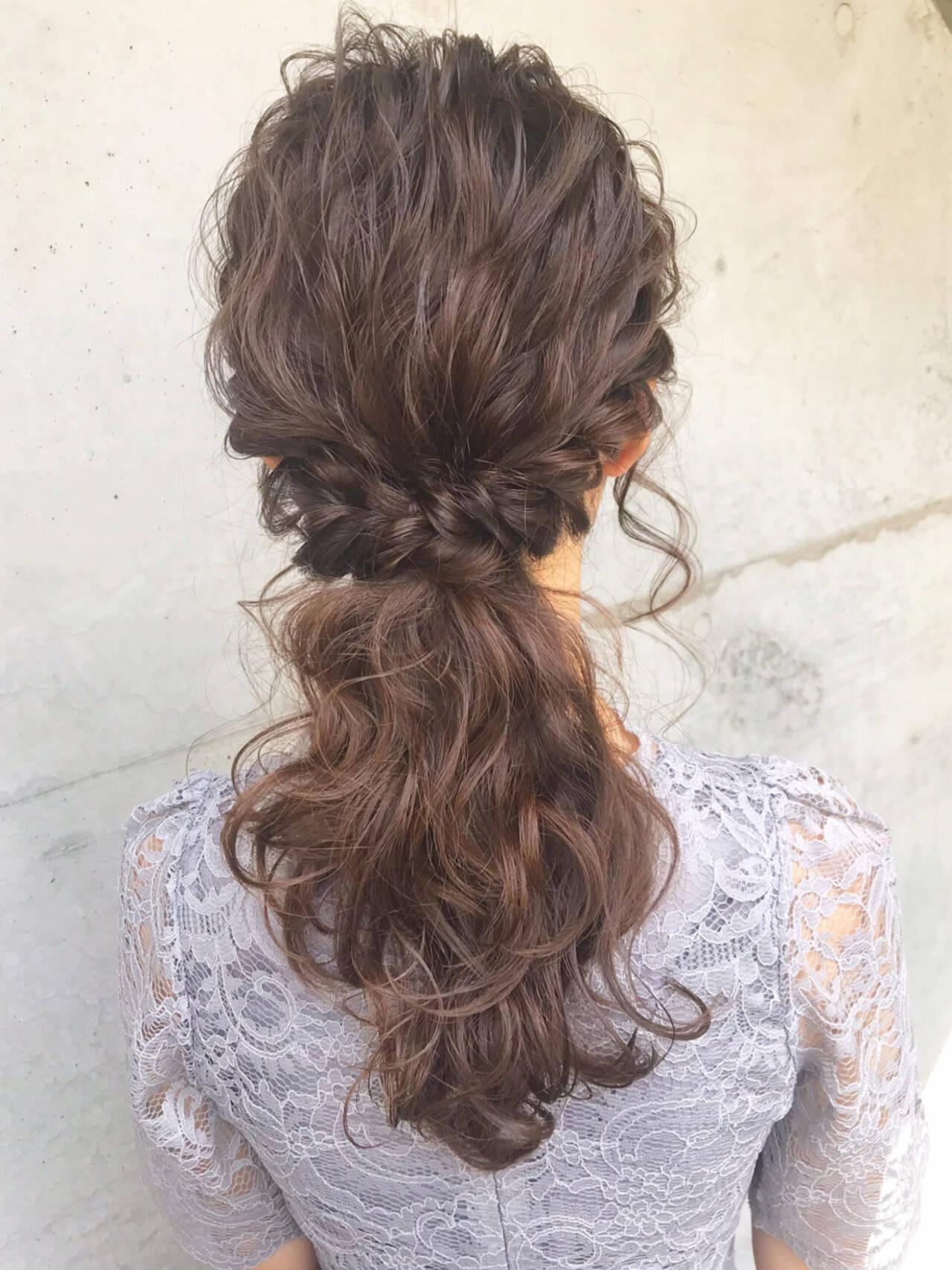 ヘアアレンジ フェミニン 結婚式 ポニーテールヘアスタイルや髪型の写真・画像