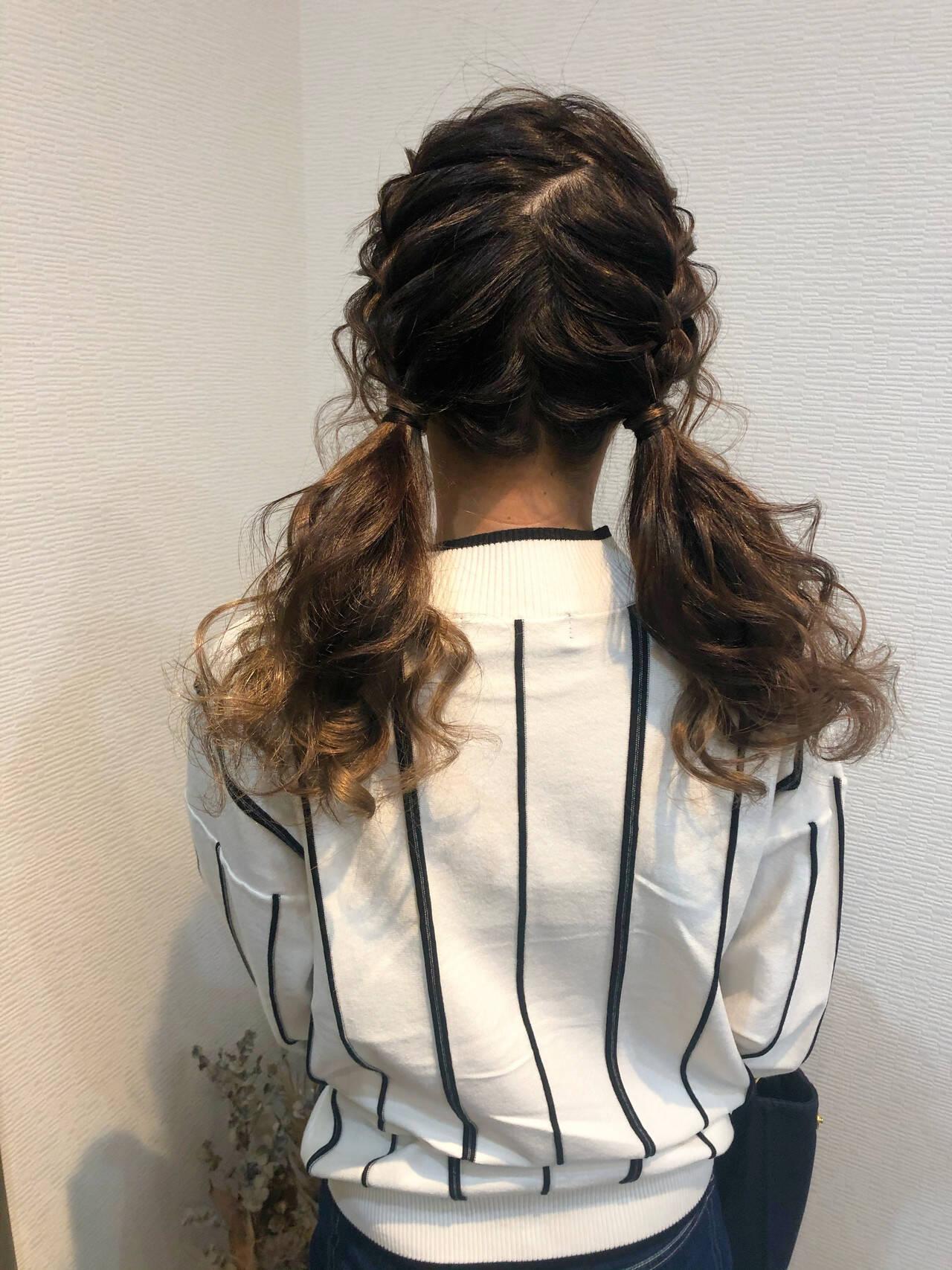 フェミニン ヘアセット ツイン ツインテールヘアスタイルや髪型の写真・画像