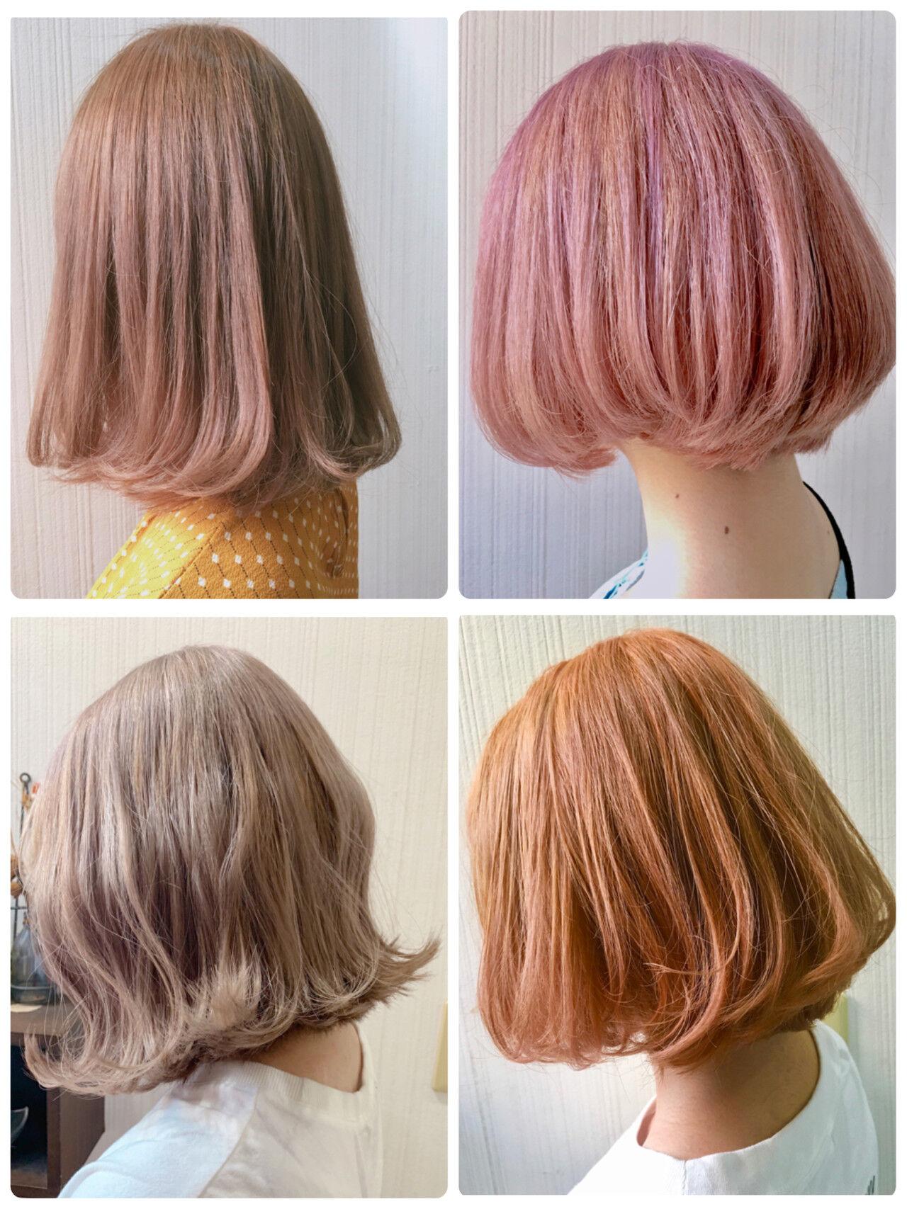アッシュベージュ 大人かわいい 切りっぱなしボブ インナーカラーヘアスタイルや髪型の写真・画像