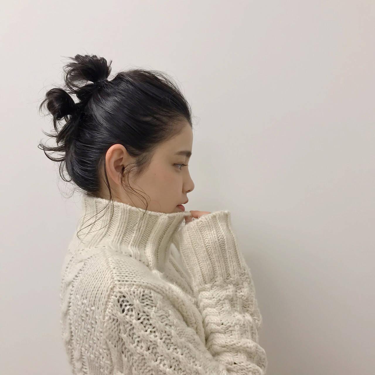 ミディアム ヘアアレンジ 黒髪 福岡市ヘアスタイルや髪型の写真・画像